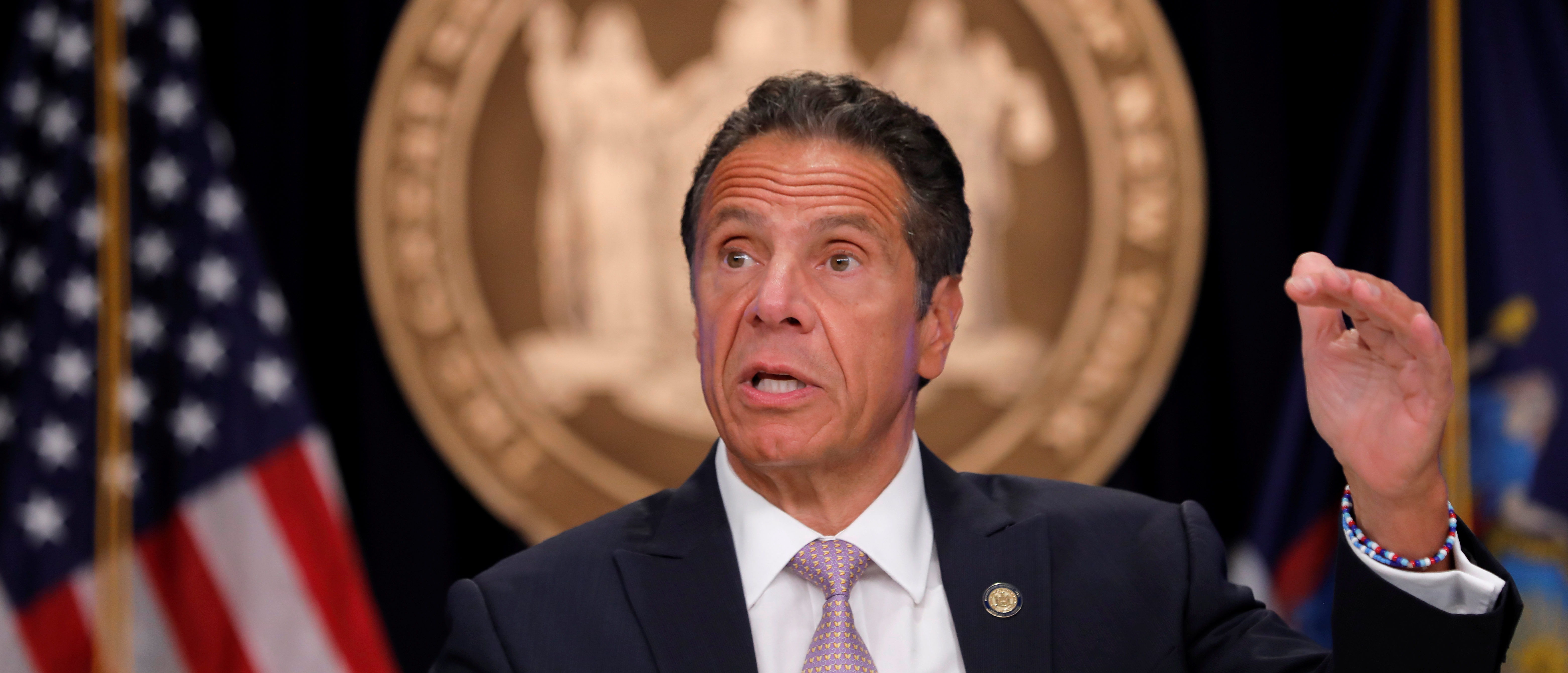 New York Governor Andrew Cuomo speaks during a daily briefing following the outbreak of the coronavirus disease (COVID-19) in Manhattan in New York City, New York, U.S., July 13, 2020. REUTERS/Mike Segar