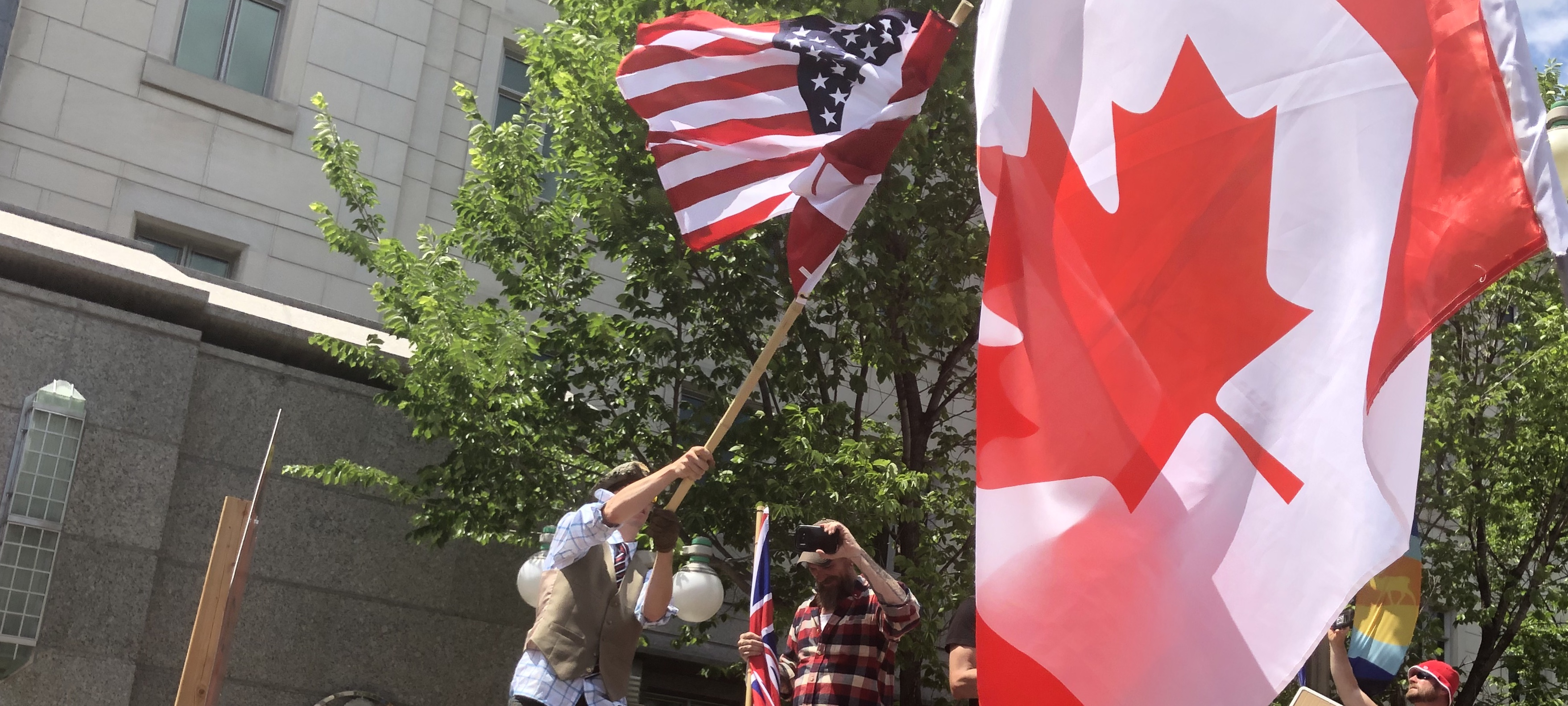 """Demonstrators protest """"corruption"""" in the Canadian government of Prime Minister Justin Trudeau, in Ottawa, Canada on July 1, 2020. Daily Caller photo by Janet Krayden"""