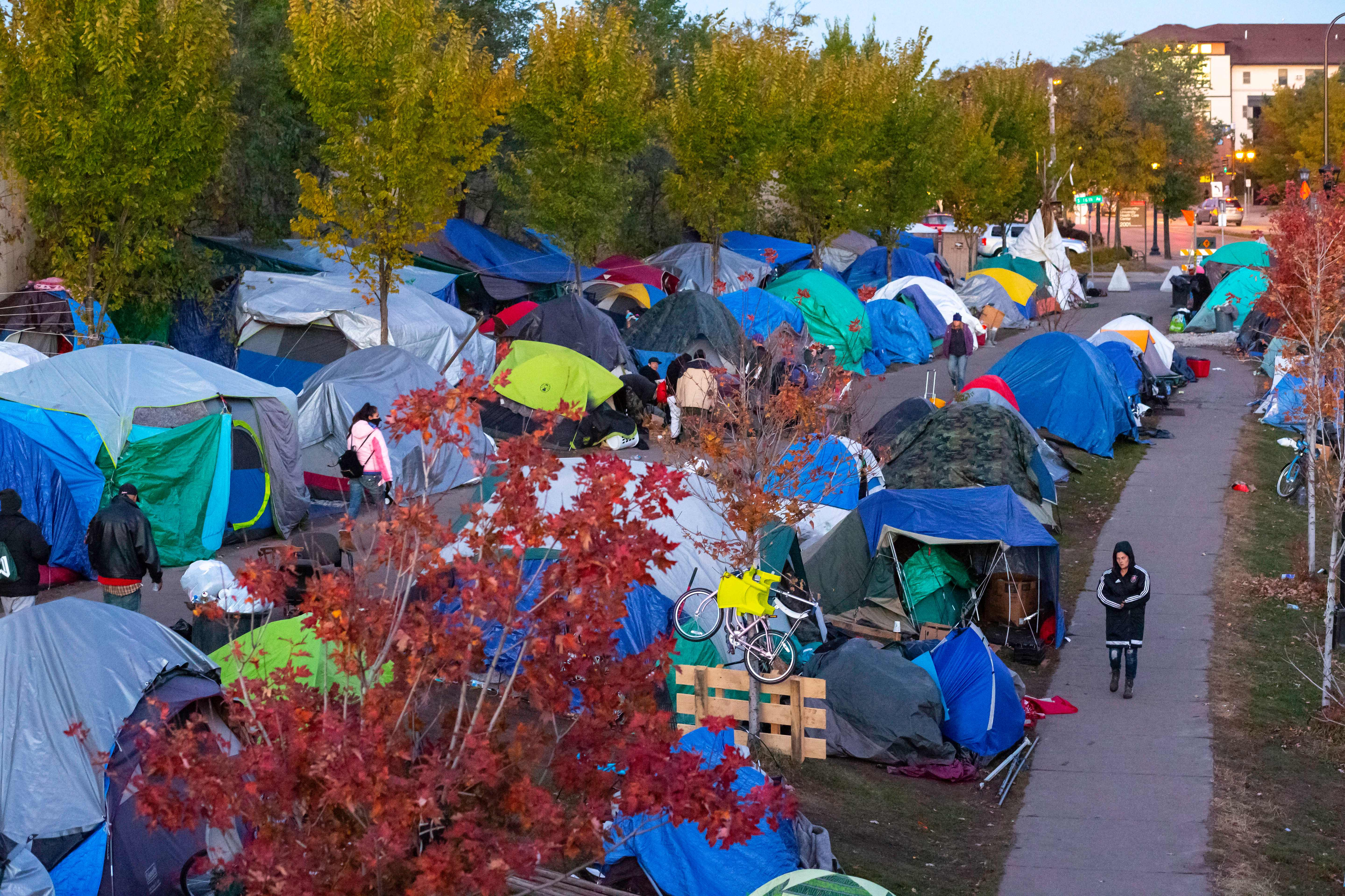 The tent city near the Little Earth housing project which set up on early August, 2018 is along Cedar and Hiawatha Avenues in Minneapolis, Minnesota. (KEREM YUCEL/AFP via Getty Images)