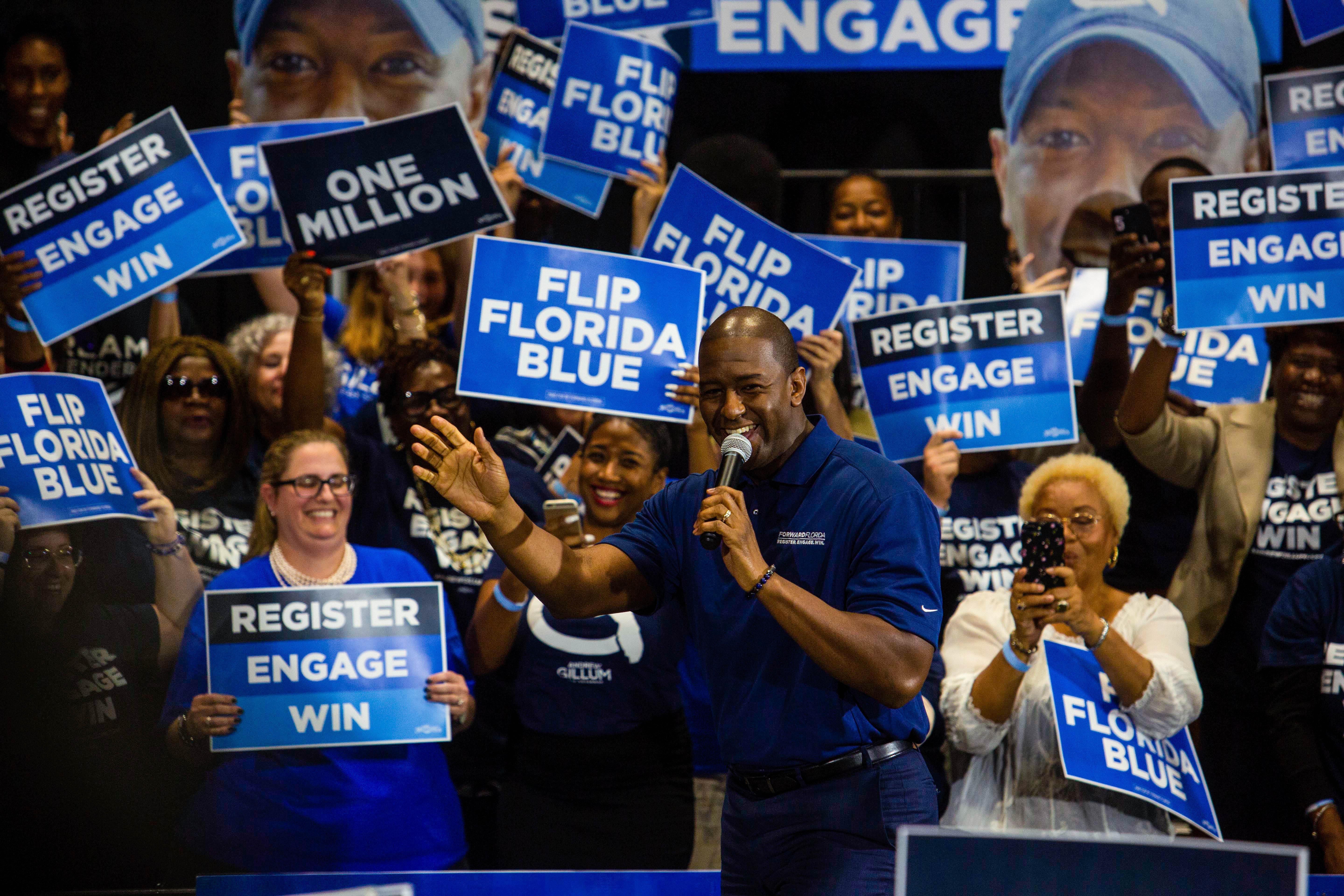 MIAMI GARDENS, FL - MARCH 20: Former Florida gubernatorial candidate Andrew Gillum addresses the audience during an event on March 20, 2019 in Miami Gardens, Florida. Gillum will launch a major campaign to register 1 million Florida voters before the 2020 election. (Photo by Saul Martinez/Getty Images)