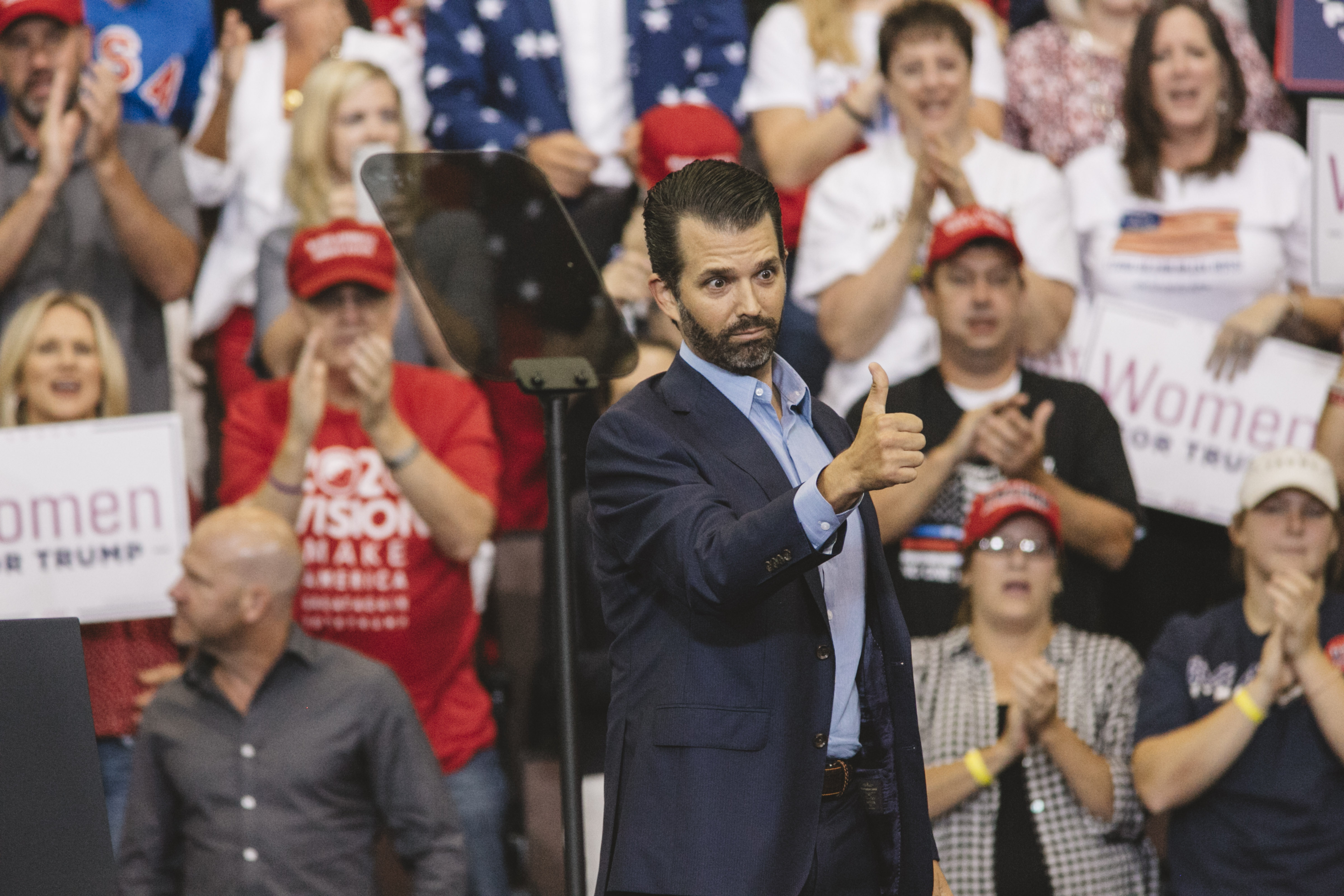 "CINCINNATI, OH - AUGUST 01: Donald Trump Jr. speaks early in the night before his father, U.S. President Donald Trump, at a campaign rally at U.S. Bank Arena on August 1, 2019 in Cincinnati, Ohio. The president was critical of his Democratic rivals, condemning what he called ""wasted money"" that has contributed to blight in inner cities run by Democrats, according to published reports. (Photo by Andrew Spear/Getty Images)"