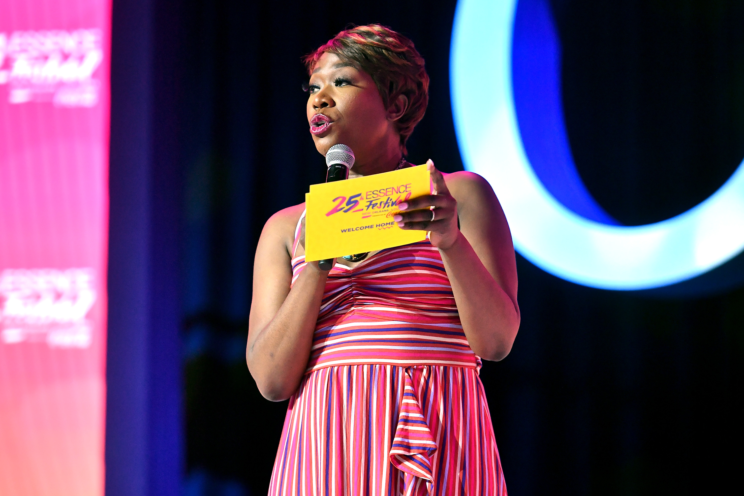 Joy-Ann Reid speaks on stage at 2019 ESSENCE Festival Presented By Coca-Cola at Ernest N. Morial Convention Center on July 05, 2019 in New Orleans, Louisiana. (Paras Griffin/Getty Images for ESSENCE)