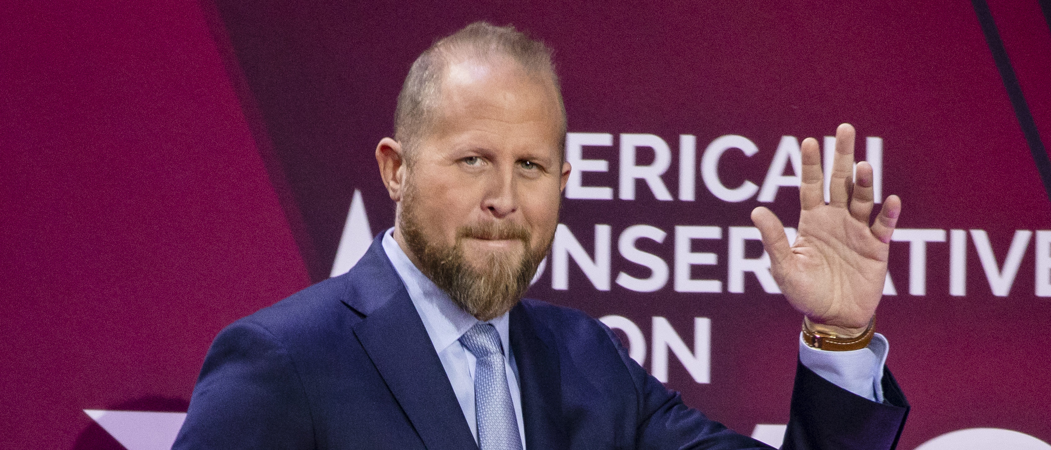 NATIONAL HARBOR, MD - FEBRUARY 28: Brad Parscale, campaign manager for Trump's 2020 reelection campaign, walks on stage during the Conservative Political Action Conference 2020 (CPAC) hosted by the American Conservative Union on February 28, 2020 in National Harbor, MD. (Photo by Samuel Corum/Getty Images)