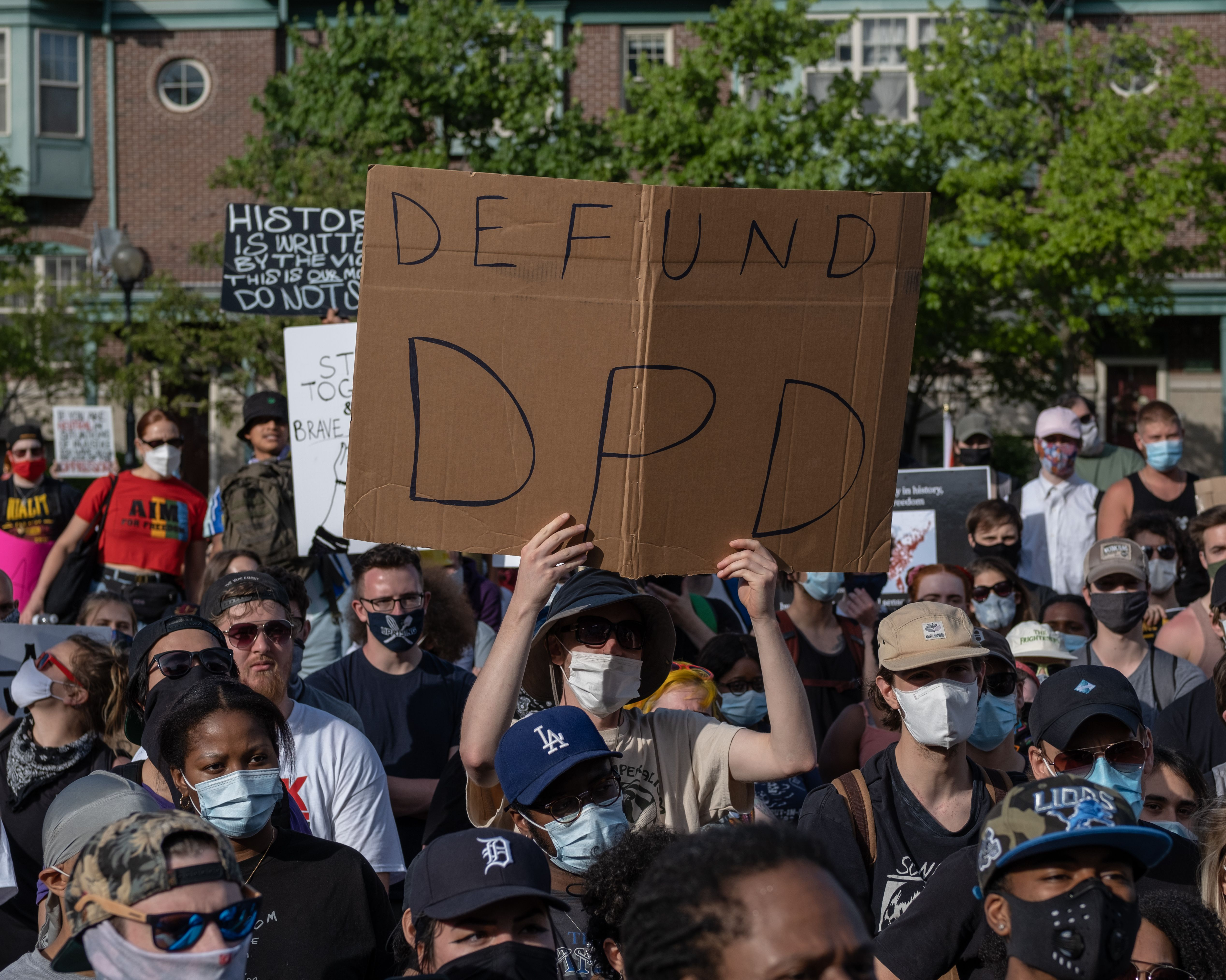 Protesters march against police brutality and in memory of George Floyd in Detroit, Michigan, on June 7, 2020. (SETH HERALD/AFP via Getty Images)