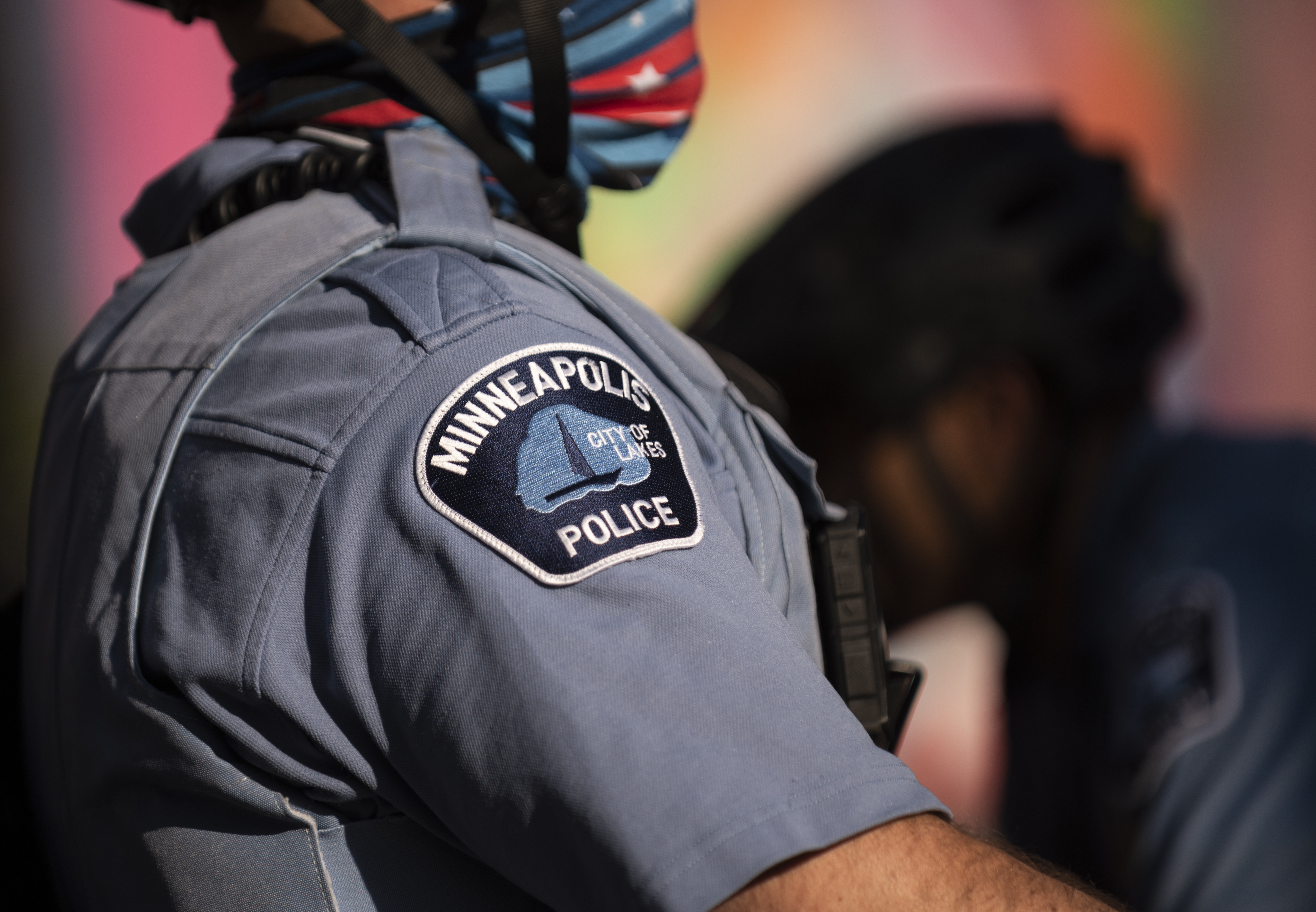 MINNEAPOLIS, MN - JUNE 11: Members of the Minneapolis Police Department monitor a protest on June 11, 2020 in Minneapolis, Minnesota. The MPD has been under scrutiny from residents and local city officials after the death of George Floyd in police custody on May 25. (Photo by Stephen Maturen/Getty Images)