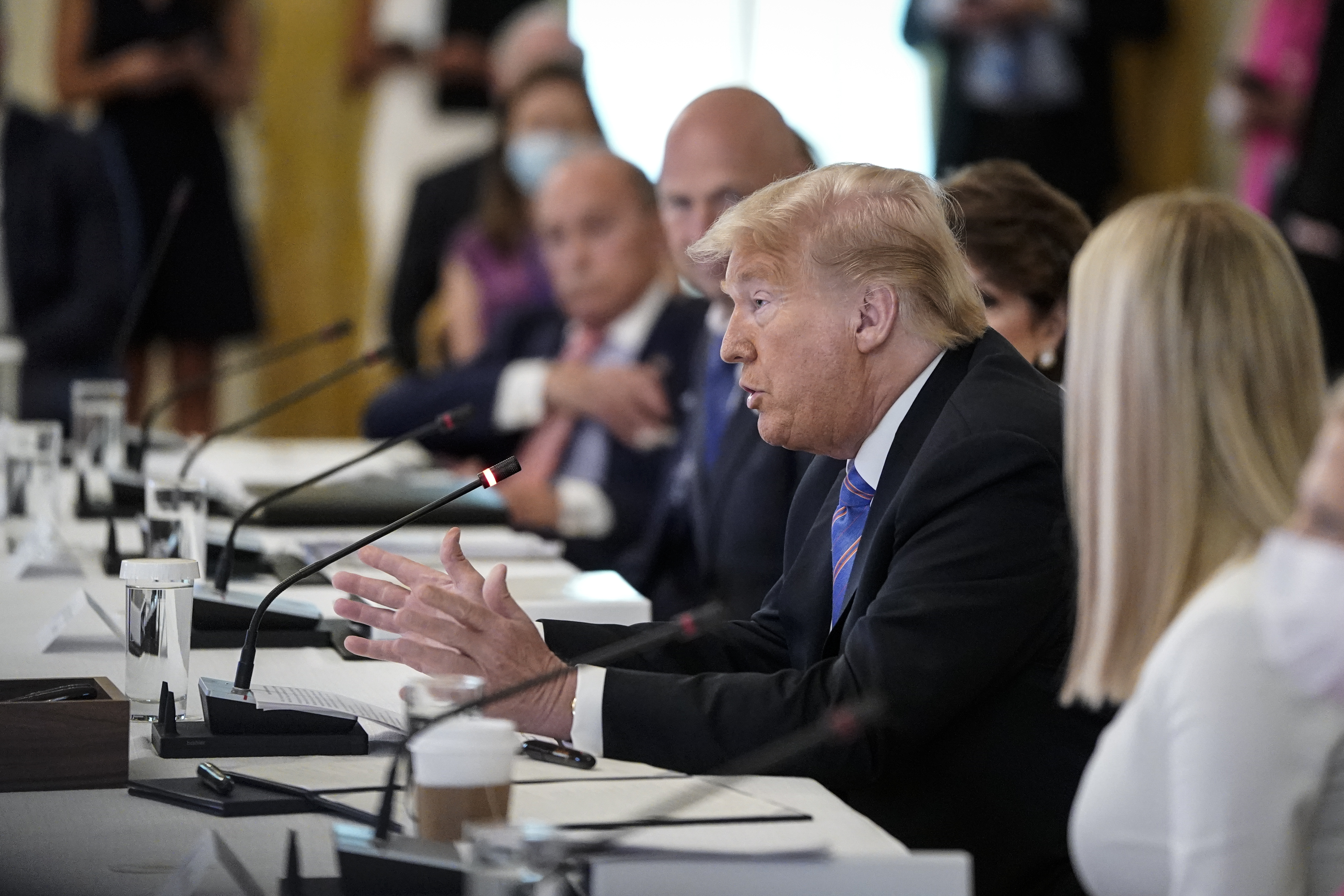 WASHINGTON, DC - JUNE 26: U.S. President Donald Trump participates in a meeting of the American Workforce Policy Advisory Board in the East Room of the White House on June 26, 2020 in Washington, DC. Earlier in the day President Trump canceled his scheduled weekend trip to his private golf club in Bedminster, New Jersey which the state now has a mandatory 14-day quarantine for travelers coming from states with coronavirus spikes. (Photo by Drew Angerer/Getty Images)