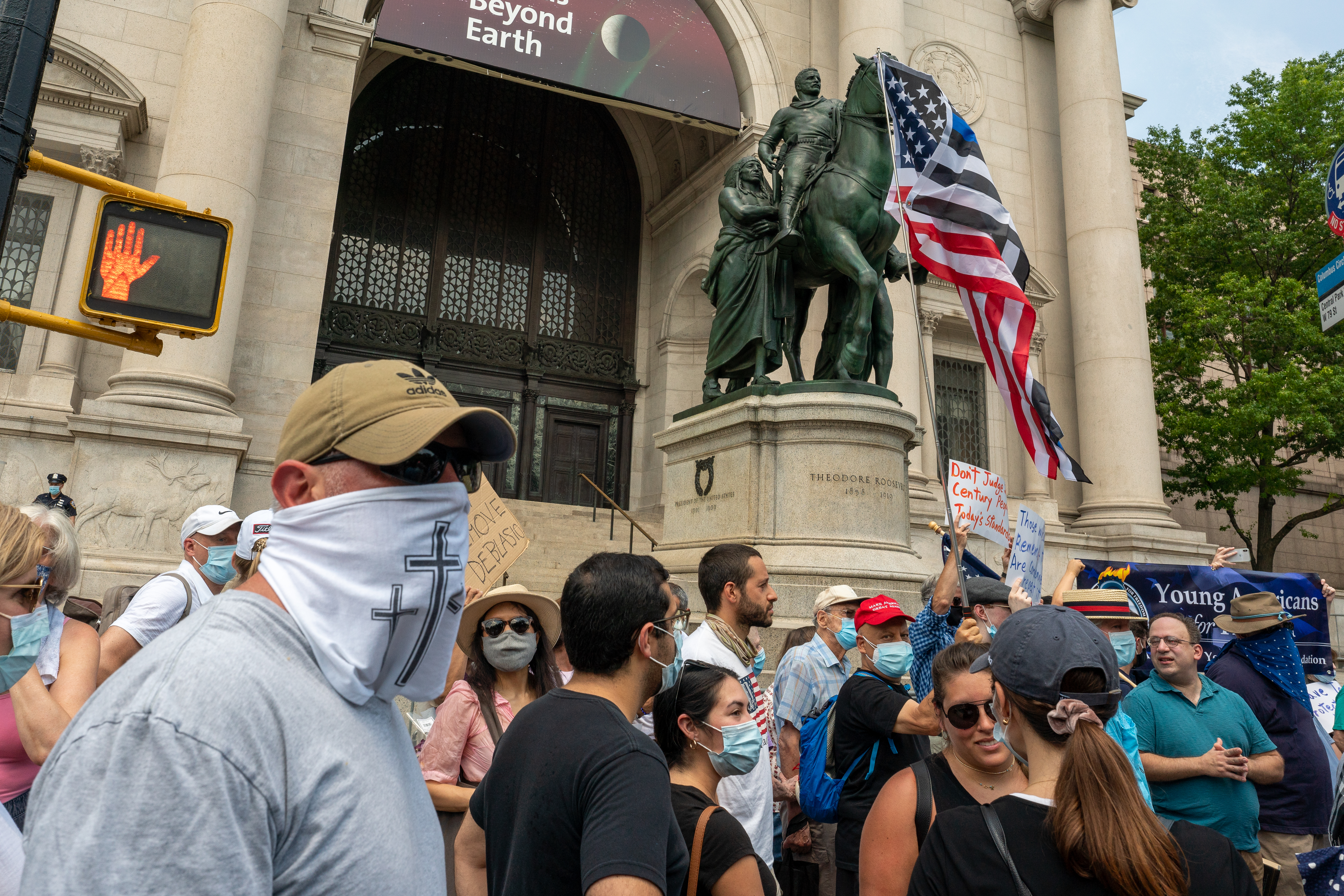 A rally led by the New York Young Republican Club calls for the statue of Theodore Roosevelt to remain in place on June 28, 2020 in New York City. (Photo: David Dee Delgado/Getty Images)