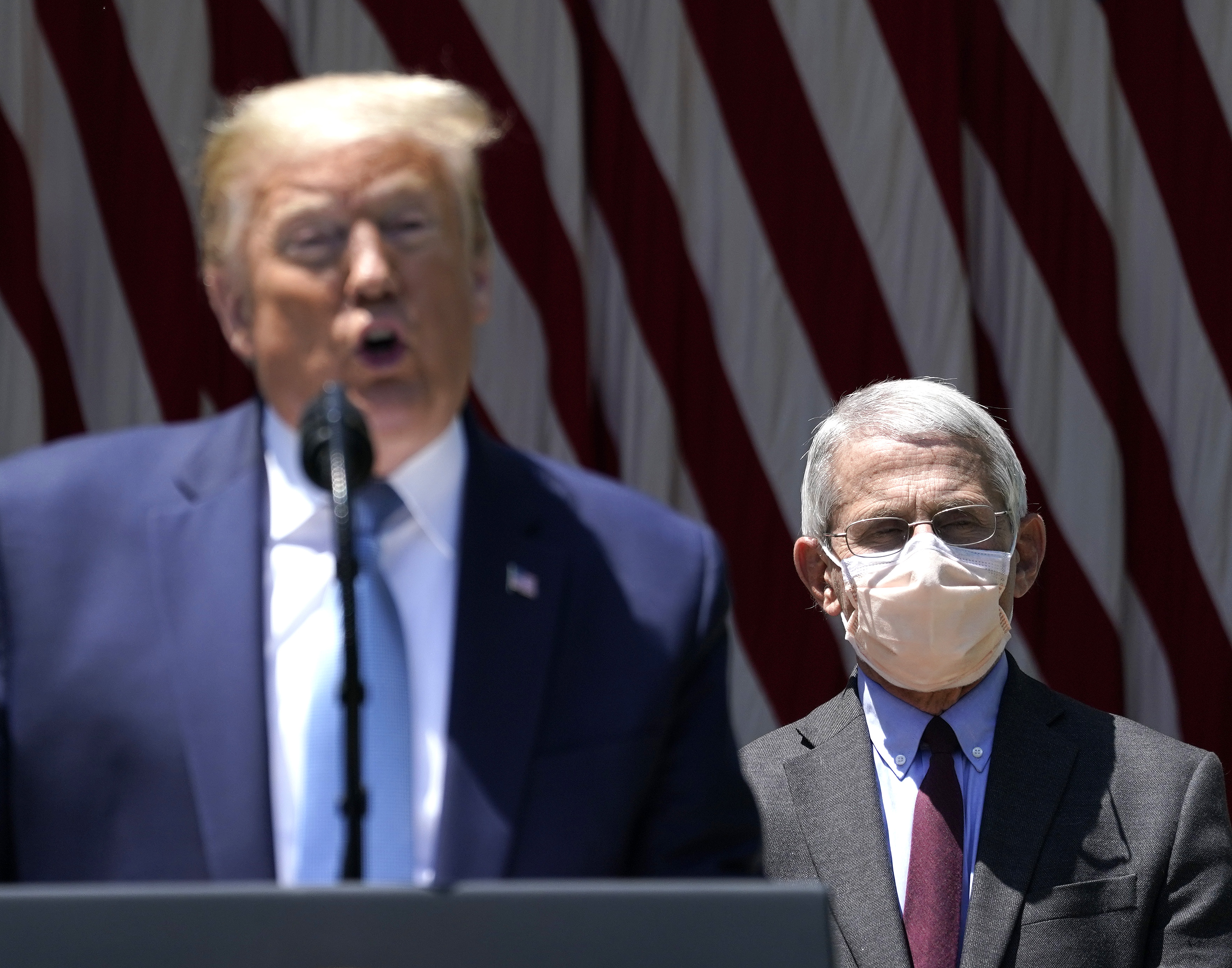 "WASHINGTON, DC - MAY 15: U.S. President Donald Trump is flanked by Dr. Anthony Fauci, director of the National Institute of Allergy and Infectious Diseases while speaking about coronavirus vaccine development in the Rose Garden of the White House on May 15, 2020 in Washington, DC. Dubbed ""Operation Warp Speed,"" the Trump administration is announcing plans for an all-out effort to produce and distribute a coronavirus vaccine by the end of 2020. (Photo by Drew Angerer/Getty Images)"