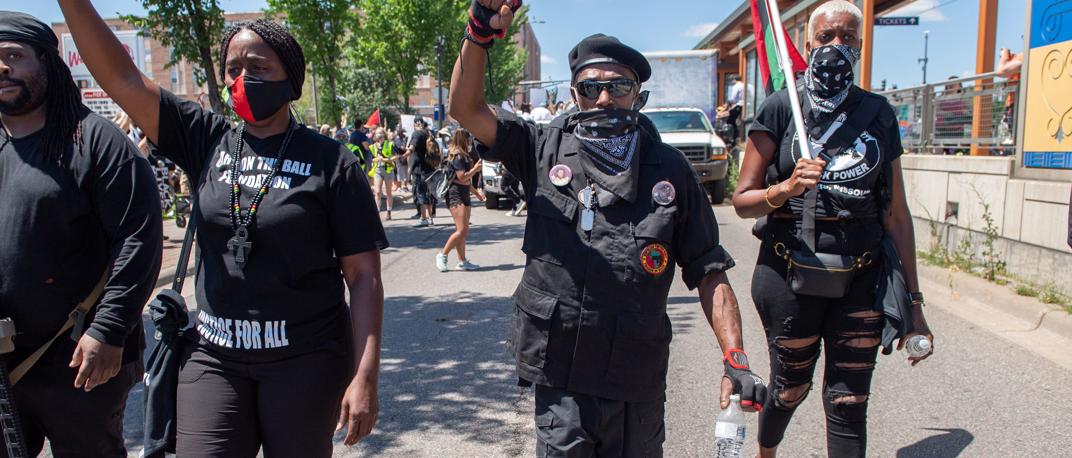 The Minneapolis group known as the Freedom Fighters march and protect supporters during a National Mother's March in St. Paul, Minnesota July 12, 2020. (Photo: Amanda Sabga/AFP via Getty Images)