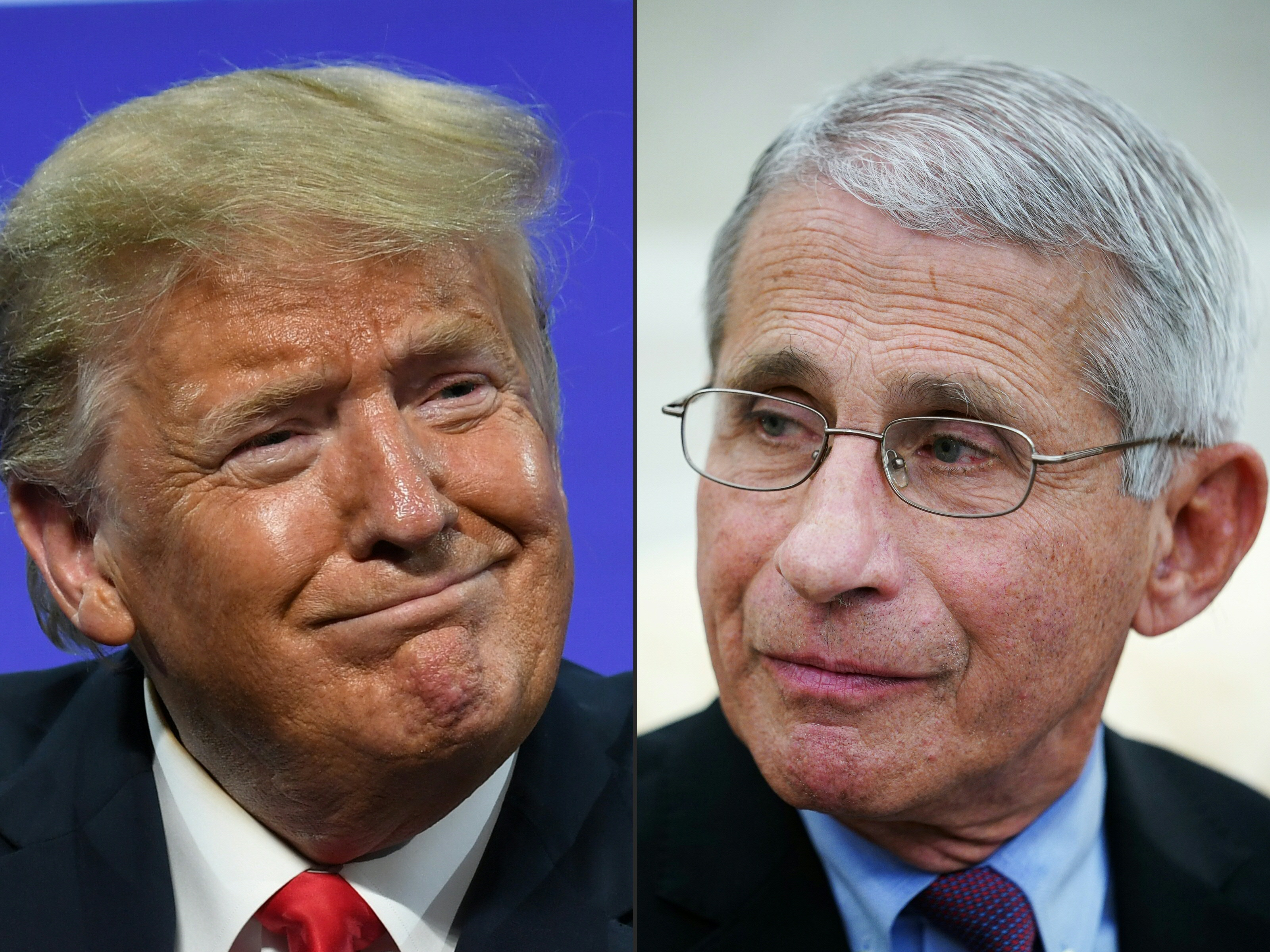 """Anthony Fauci responded to President Donald Trump's recent criticism saying he was a """"realist."""" (Photos: Saul Loeb and Mandel Ngan/AFP via Getty Images)"""
