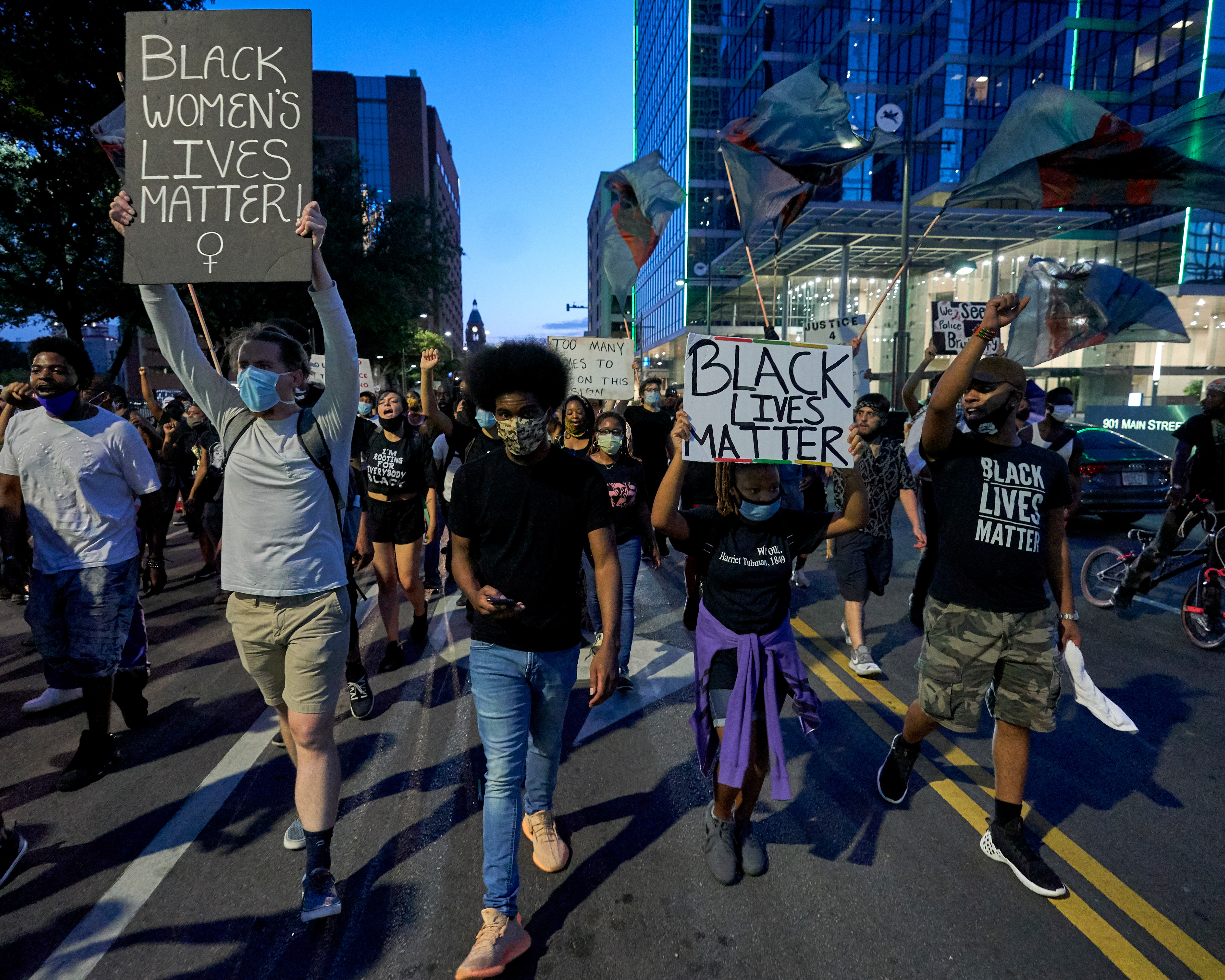 DALLAS, TX - JULY 13: Protesters march down the streets during a rally in remembrance of Sandra Bland on July 13, 2020 in Dallas, Texas. Today is the fifth anniversary of Bland's death by hanging in her jail cell three days after her arrest at a confrontational traffic stop. (Photo by Cooper Neill/Getty Images)