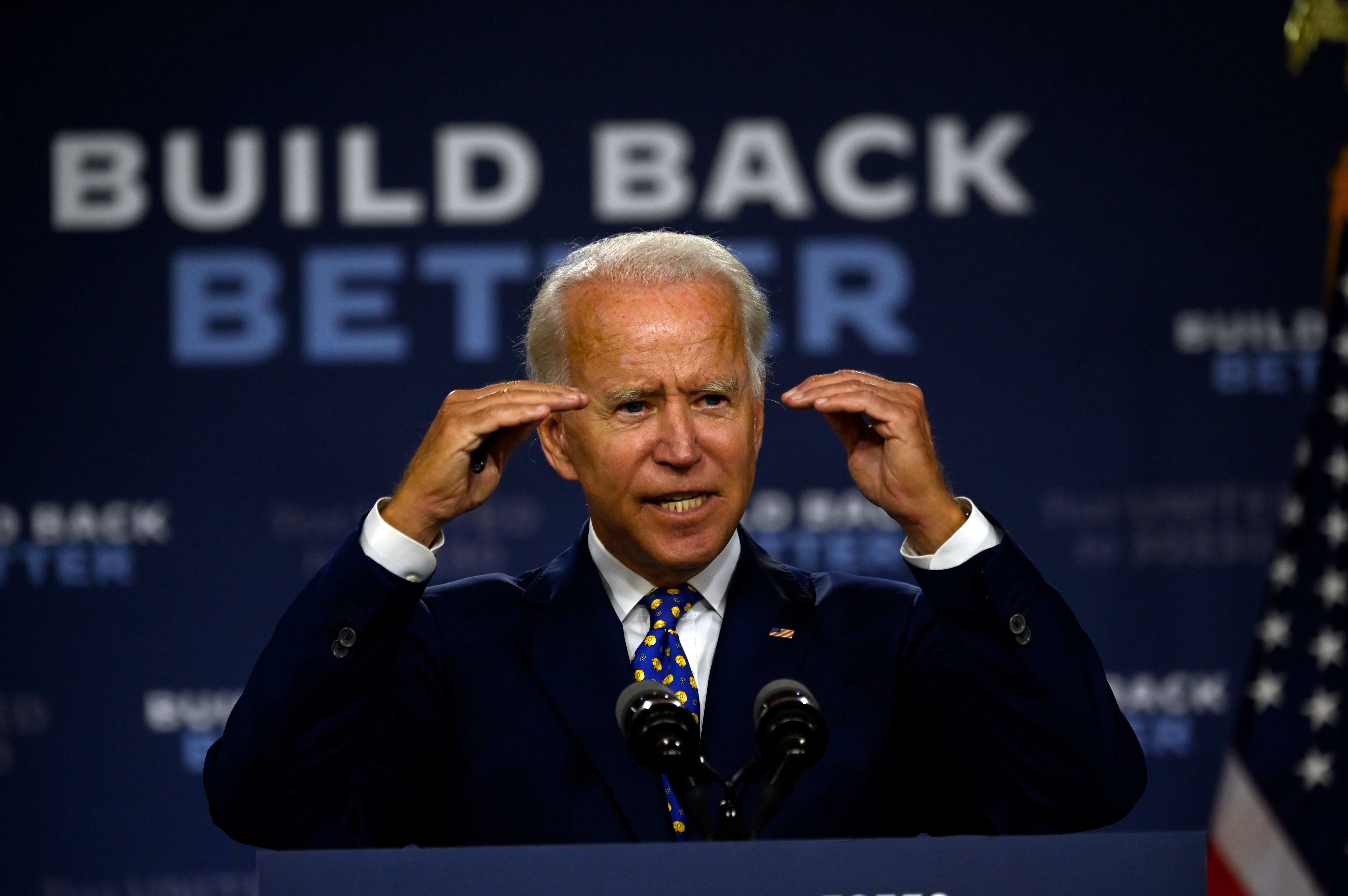 "US Democratic presidential candidate and former Vice President Joe Biden speaks during a campaign event at the William ""Hicks"" Anderson Community Center in Wilmington, Delaware on July 28, 2020. (Photo by ANDREW CABALLERO-REYNOLDS/AFP via Getty Images)"