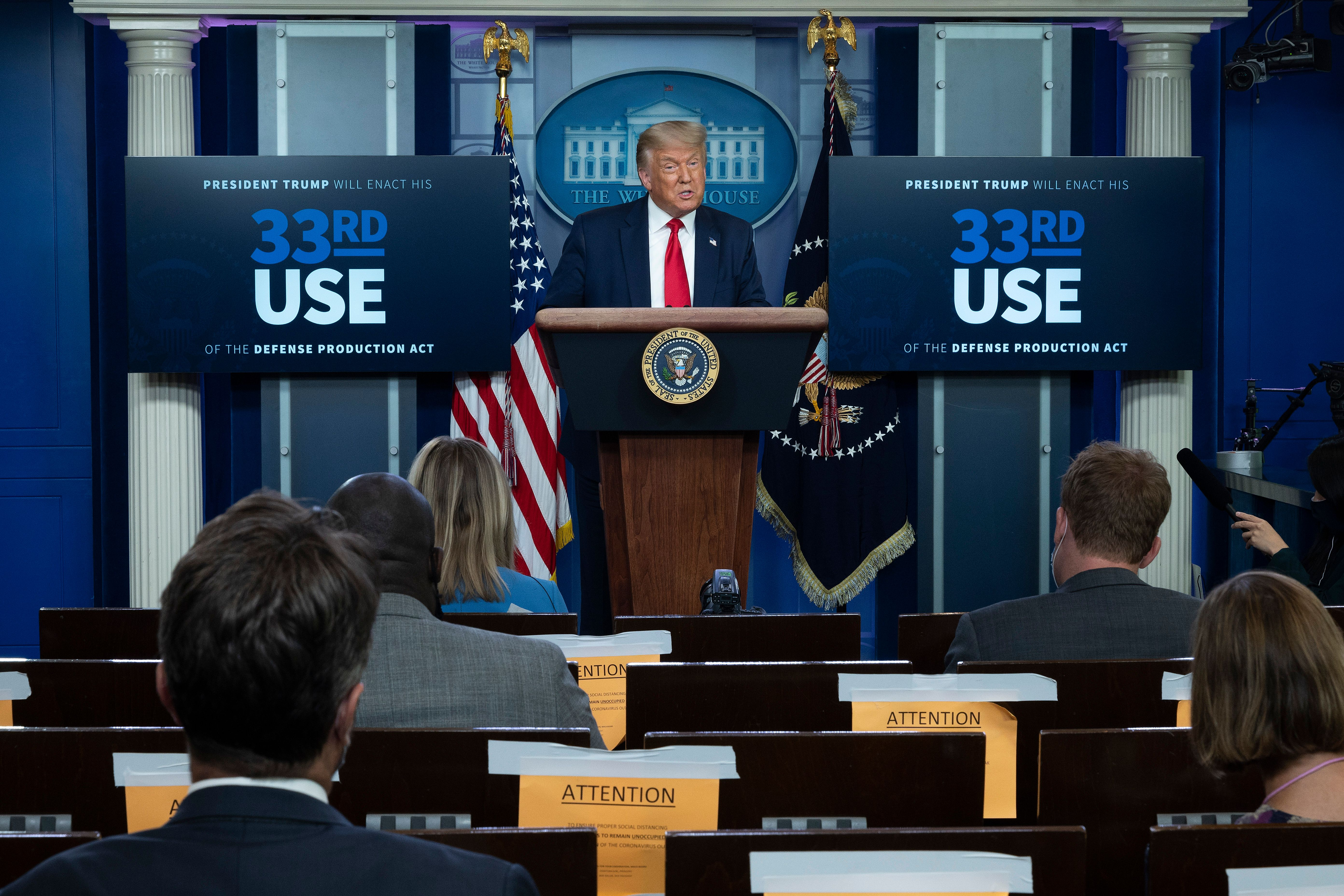 US President Donald Trump speaks to the press in the Brady Briefing Room of the White House in Washington, DC, on July 28, 2020. (Photo by JIM WATSON/AFP via Getty Images)