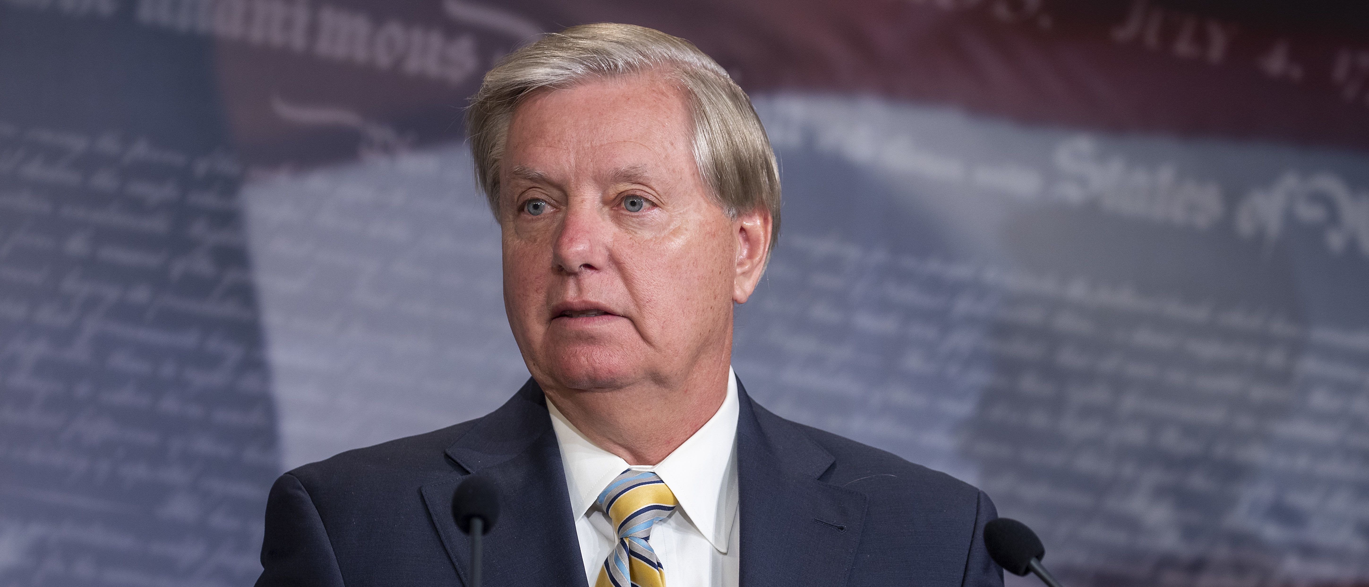 WASHINGTON, DC - JULY 01: Sen. Lindsey Graham (R-SC) attends a press conference announcing Senate Republicans' opposition to D.C. statehood on Capitol Hill July 01, 2020 in Washington, DC. The House of Representatives voted on Friday to recognize the District of Columbia as the 51st state. (Photo by Tasos Katopodis/Getty Images)