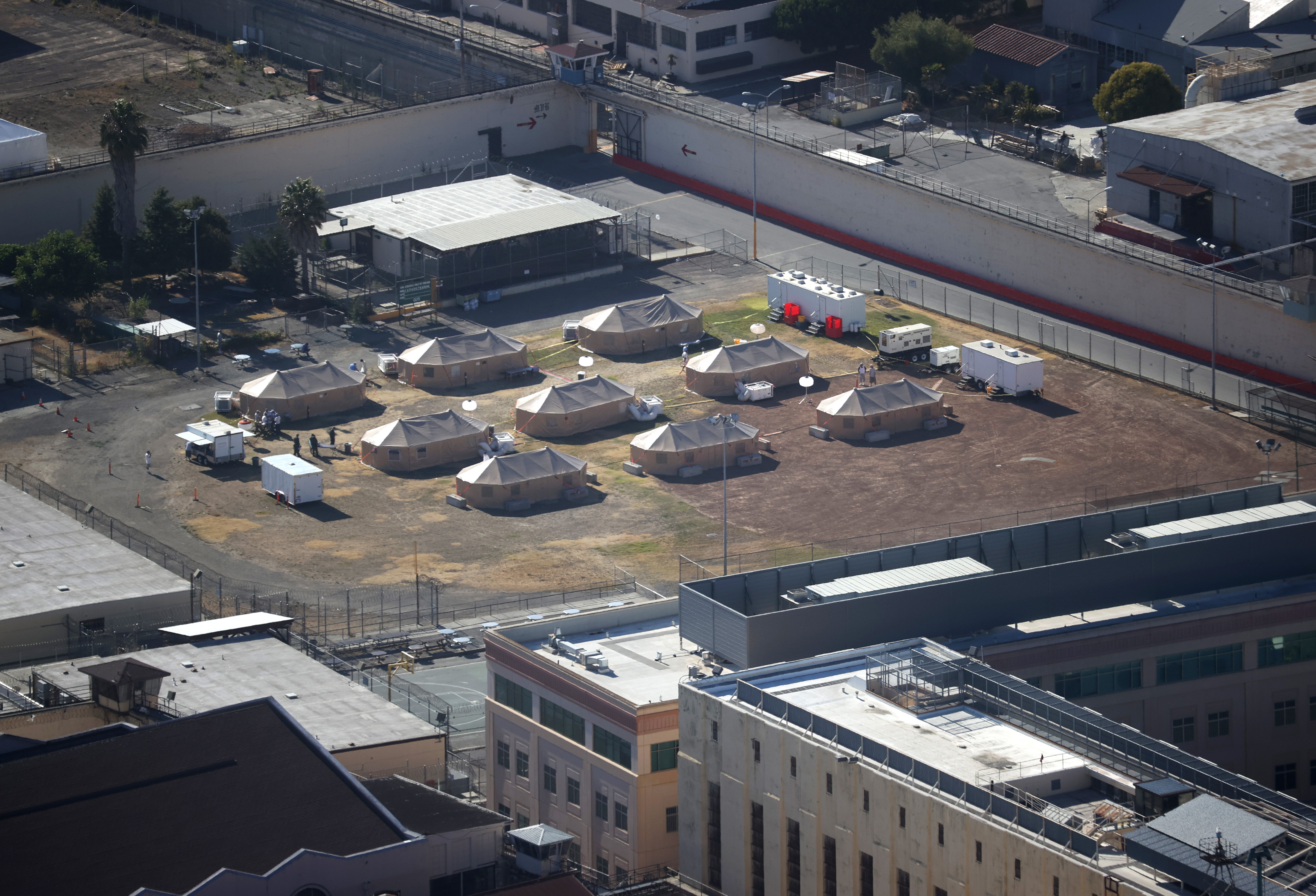 A view of a new emergency care facility that was erected to treat inmates infected with coronavirus at San Quentin State Prison on July 08, 2020 in San Quentin, California.(Justin Sullivan/Getty Images)