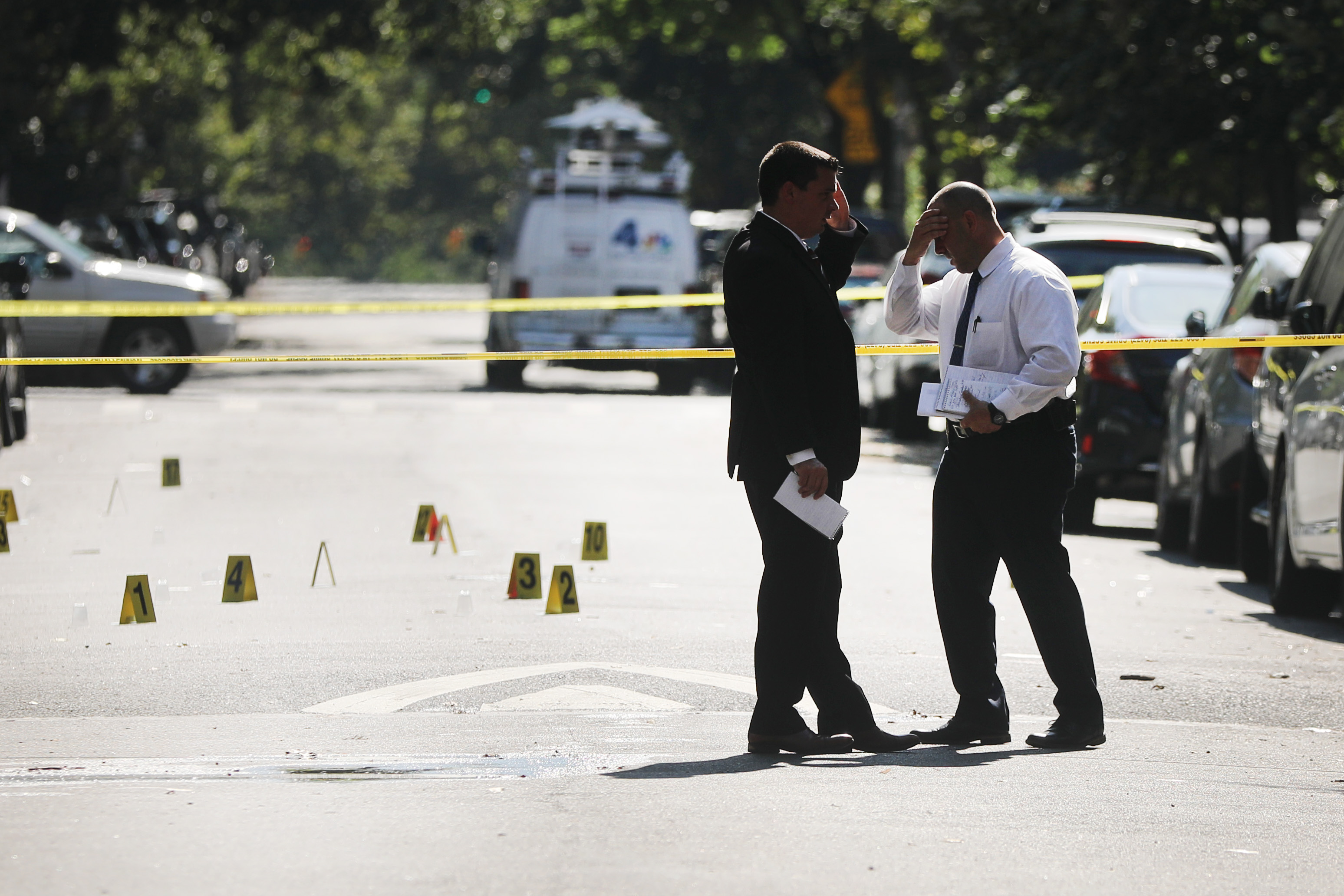 Police work at a crime scene in Brooklyn where a one year old child was shot and killed on July 13, 2020 in New York City. The 1-year-old boy was shot near a playground during a Sunday picnic when gunfire erupted. Two adults were wounded in the evening shooting. New York City has witnessed a surge in gun violence over the past month with 9 people killed, including children, and 41 others wounded on the Fourth of July weekend alone. The gun violence is occurring against the backdrop of a nationwide movement to consider defunding police departments. (Photo by Spencer Platt/Getty Images)