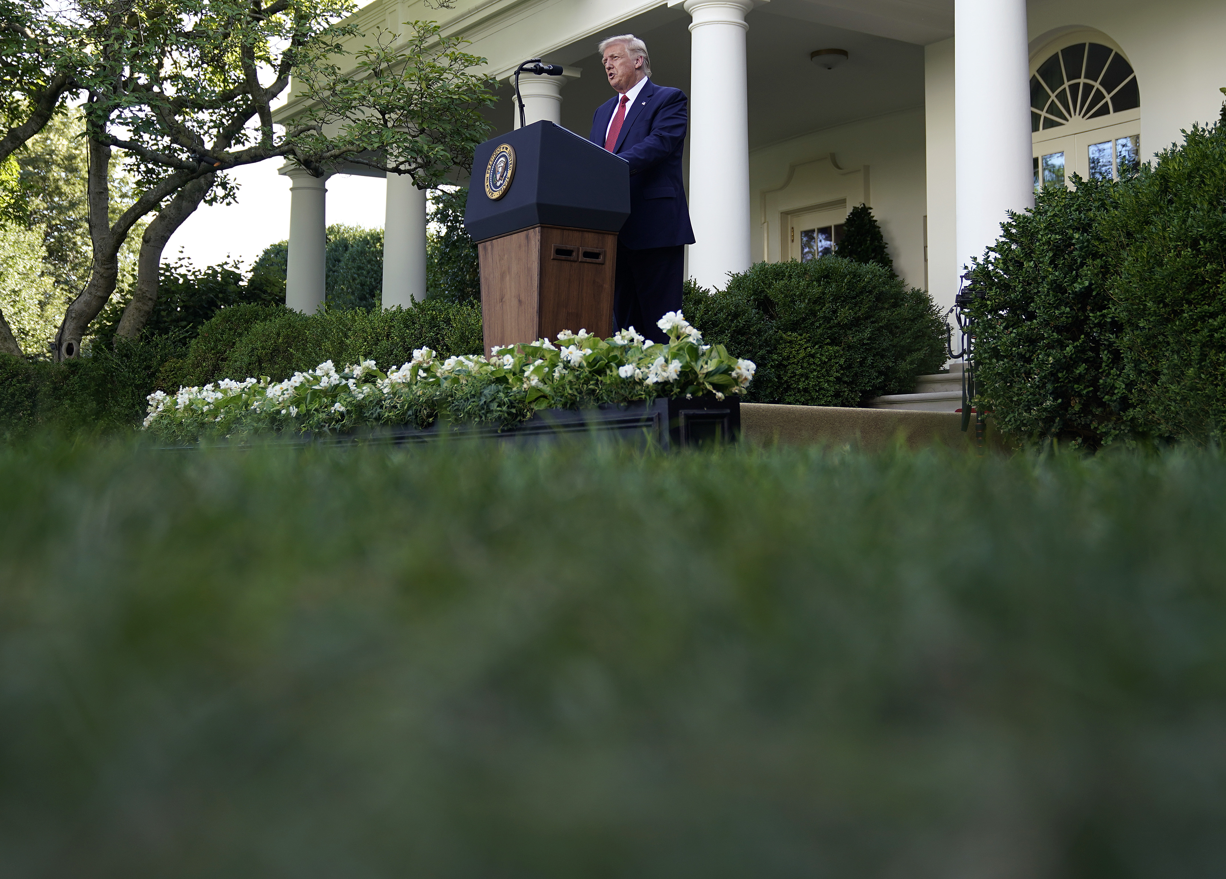 WASHINGTON, DC - JULY 14: U.S. President Donald Trump speaks to the media in the Rose Garden at the White House on July 14, 2020 in Washington, DC. President Trump spoke on several topics including Democratic presidential candidate Joe Biden, the stock market and relations with China as the coronavirus continues to spread in the U.S., with nearly 3.4 million confirmed cases. (Photo by Drew Angerer/Getty Images)