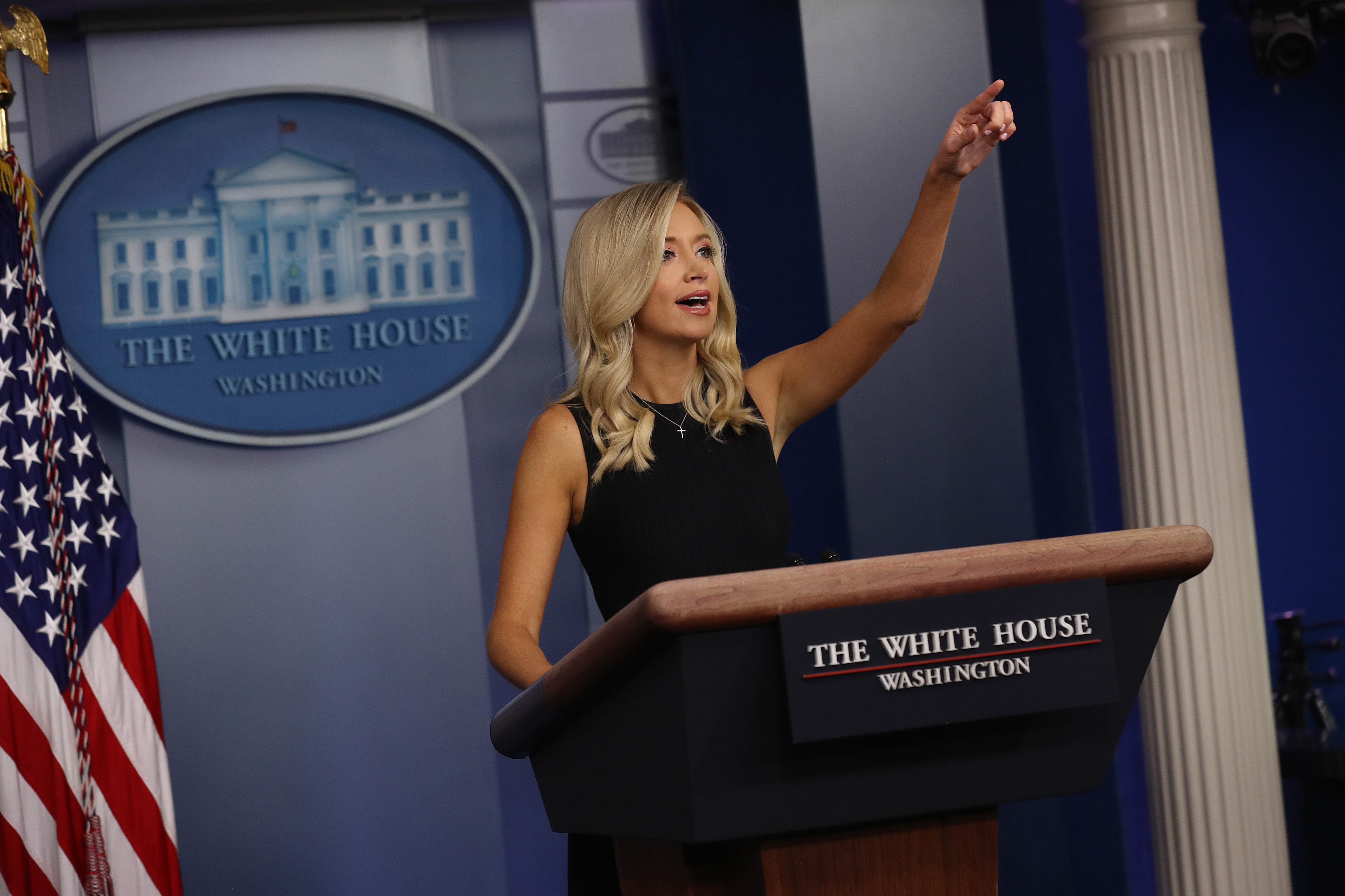 WASHINGTON, DC - JULY 21: White House Press Secretary Kayleigh McEnany speaks during a briefing in the Brady Press Briefing Room at the White House July 21, 2020 in Washington, DC. McEnany took questions from reporters on several topics including President Trump's response to the coronavirus pandemic. (Photo by Chip Somodevilla/Getty Images)