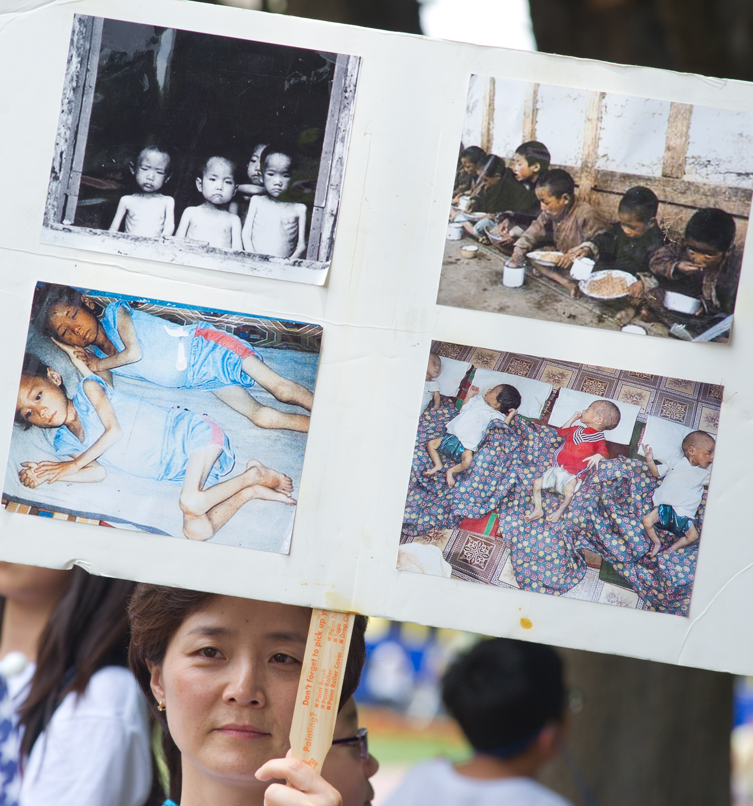 A woman holds up a poster with photos from an internment camp in North Korea during a White House vigil at Lafayette Park July 10, 2012 In Washington, DC. (KAREN BLEIER/AFP/GettyImages)