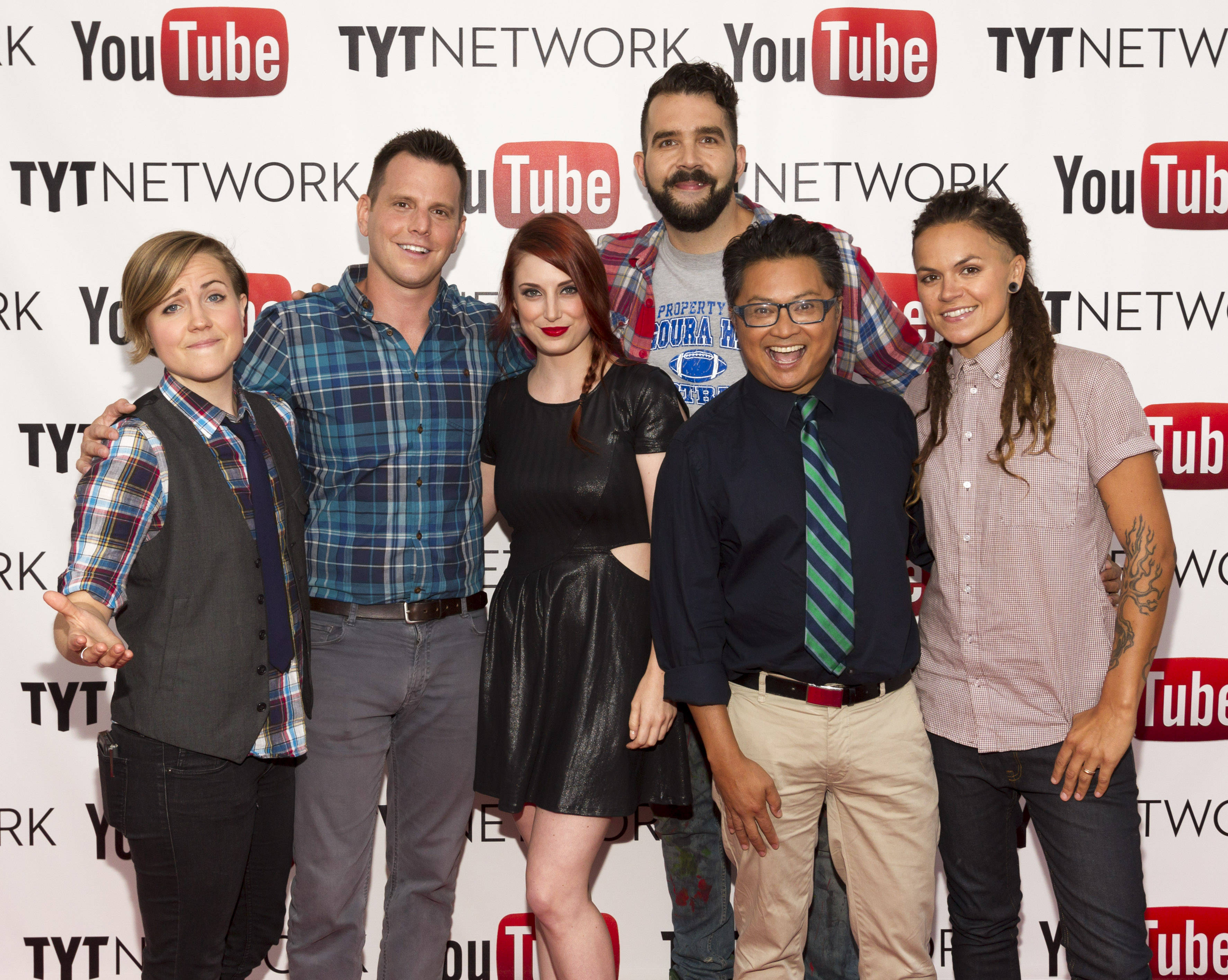 LOS ANGELES, CA - JUNE 27: YouTube talent Hannah Hart, comedian Dave Rubin, actress Bree Essrig and YouTube talents Jonny McGovern, Alec Mapa and Whitney Mixter arrive at the YouTube & TYTNetwork PRIDE Party on June 27, 2013 in Los Angeles, California. (Photo by Rich Polk/Getty Images for YouTube)