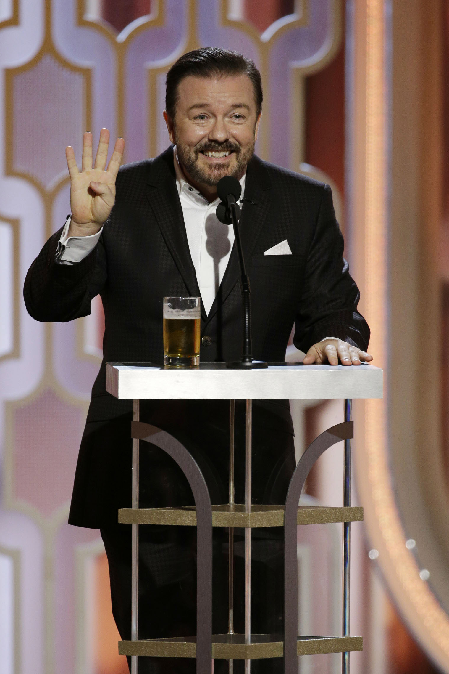 Host Ricky Gervais speaks onstage during the 73rd Annual Golden Globe Awards at The Beverly Hilton Hotel on January 10, 2016 in Beverly Hills, California. (Photo by Paul Drinkwater/NBCUniversal via Getty Images)