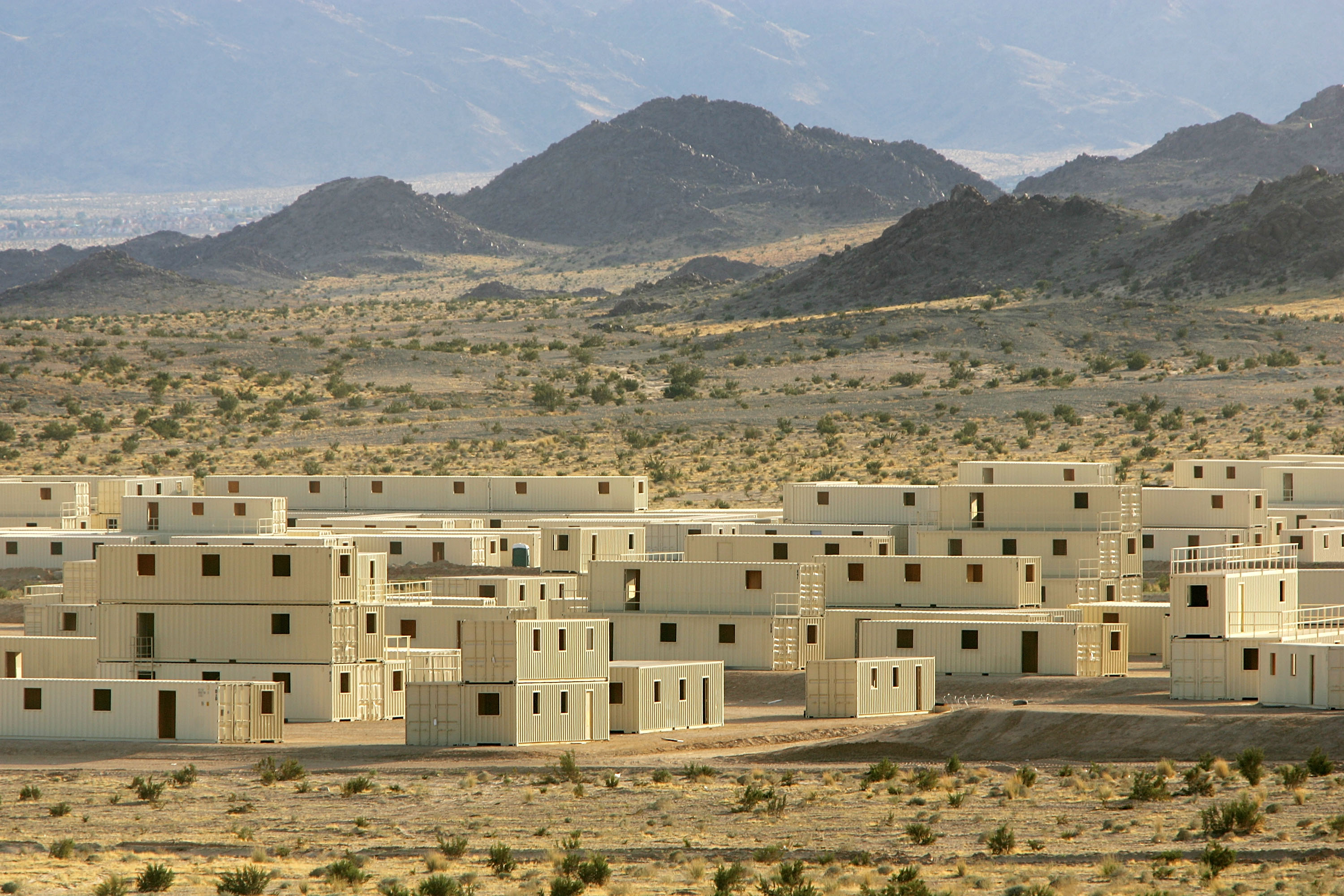 TWENTYNINE PALMS, CA - NOVEMBER 14: Range 200 simulated Iraqi village, where US marines of the First Expeditionary Force (1MEF) are training at the Twentynine Palms Marine Base, is seen on November 14, 2005 near Twentynine Palms, California. The marines have turned shipping containers into simulated Iraqi villages on Ranges 200 and 215 to train their fighters in an urban environment similar to that which they will be deployed to in Iraq. The Marines will be conducting Stability and Support Operations next year in Iraq with emphasis on training and mentoring Iraqi Security Forces. (Photo by David McNew/Getty Images)