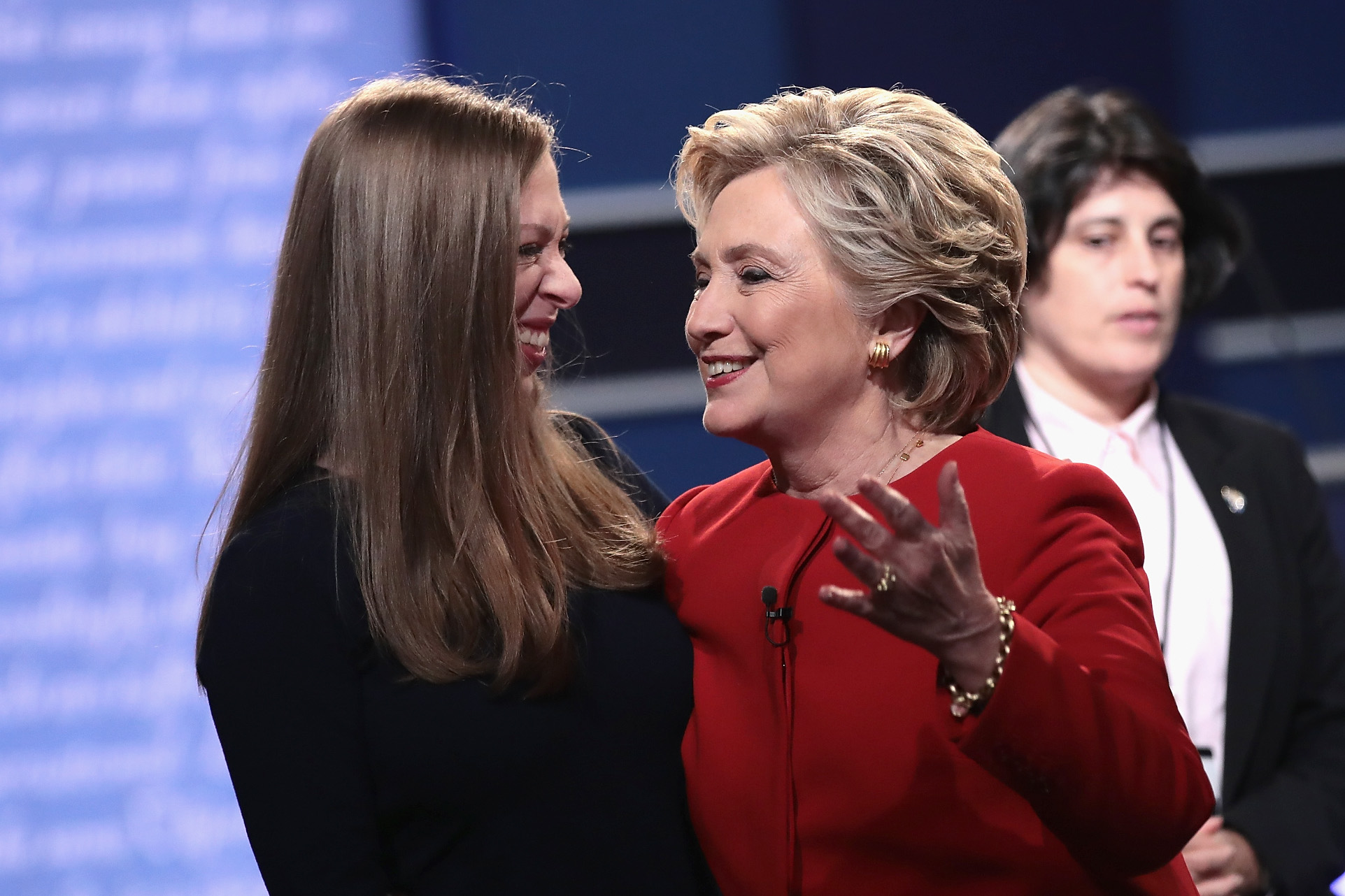Democratic presidential nominee Hillary Clinton (R) talks with daughter, Chelsea Clinton (L) after the Presidential Debate with Republican presidential nominee Donald Trump at Hofstra University on September 26, 2016 in Hempstead, New York. The first of four debates for the 2016 Election, three Presidential and one Vice Presidential, is moderated by NBC's Lester Holt. (Photo by Drew Angerer/Getty Images)
