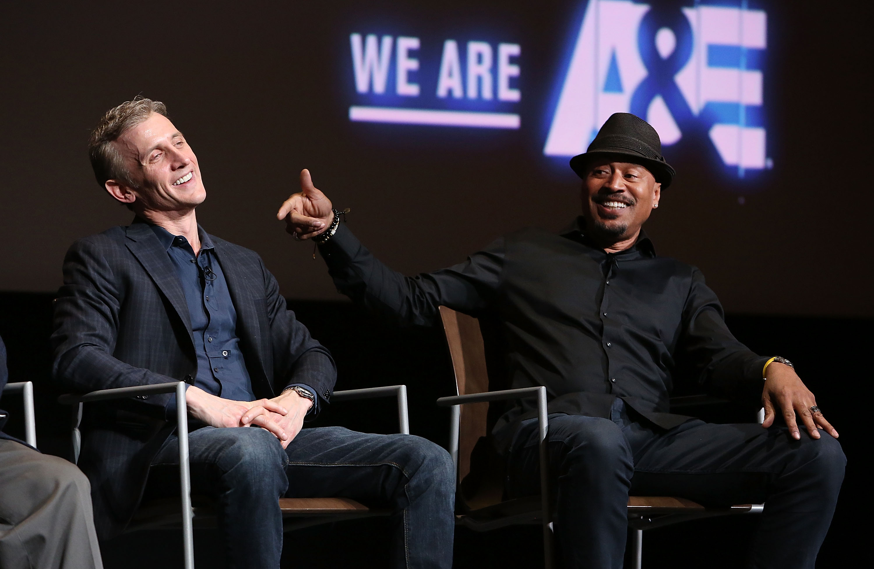 Host Dan Abrams and analyst Tom Morris attend a Live PD Screening at Saban Media Center in 2018 in North Hollywood, California. (Photo: Jesse Grant/Getty Images for A&E Network)