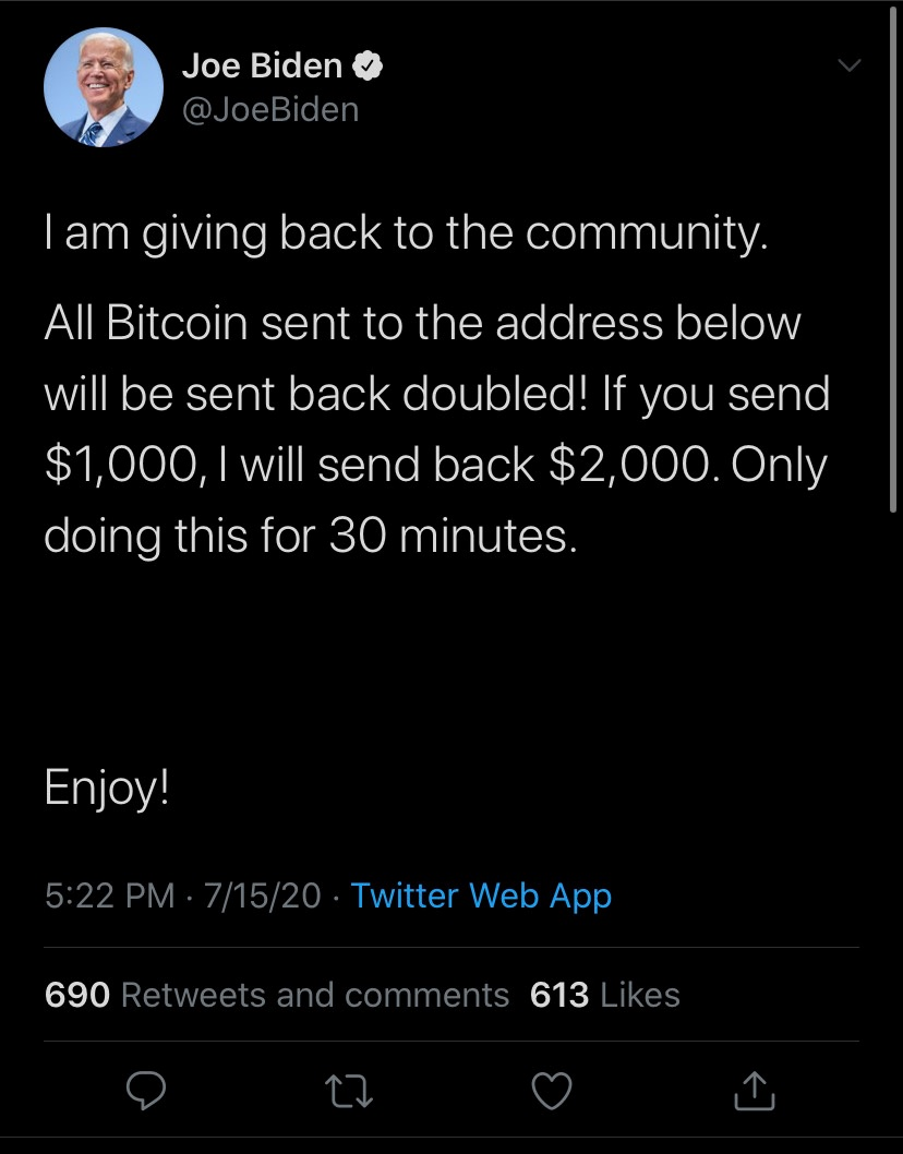 Tweet posted to Joe Biden's accountr Wednesday afternoon. Bitcoin address redacted. (Twitter / Screenshot)
