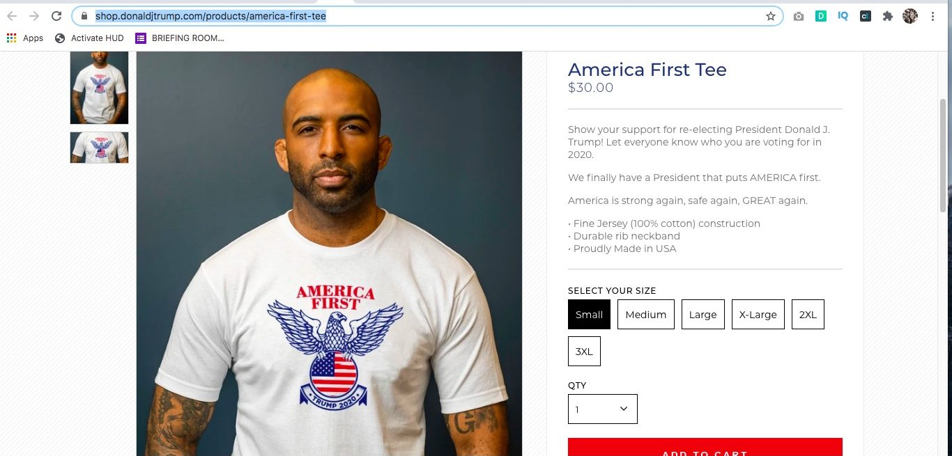 Trump campaign shirt accused of sharing design from Nazi Eagle (shop.donaldtrump.com)