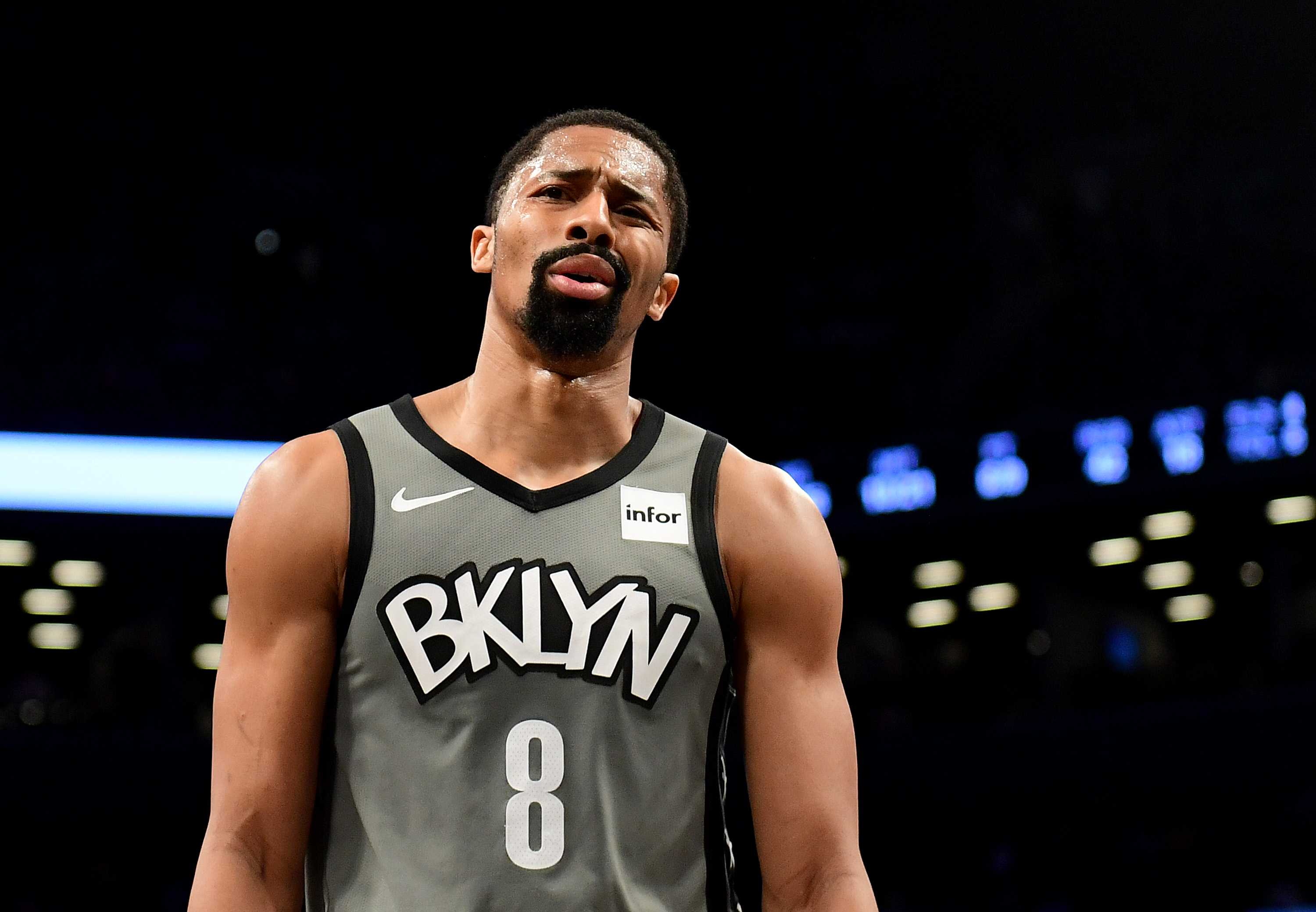Spencer Dinwiddie #8 of the Brooklyn Nets reacts during the first half against the Indiana Pacers at Barclays Center on November 18, 2019 in the Brooklyn borough of New York City. (Photo by Emilee Chinn/Getty Images)