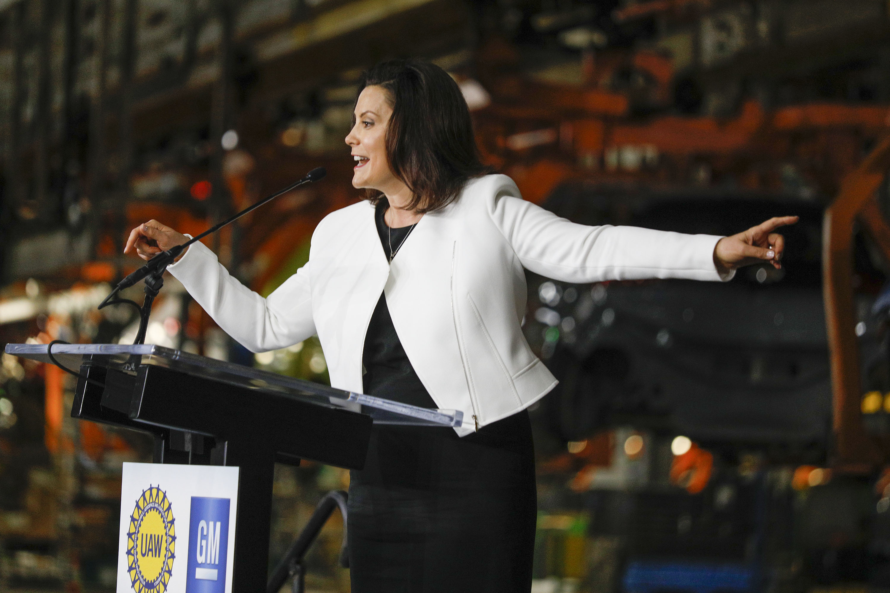 LAKE ORION, MI - MARCH 22: Michigan Gov. Gretchen Whitmer speaks at an event where General Motors Chairman and CEO Mary Barra announced a $300 million investment in the GM Orion Assembly Plant plant for electric and self-driving vehicles at the Orion Assembly Plant on March 22, 2019 in Lake Orion, Michigan. (Photo by Bill Pugliano/Getty Images)