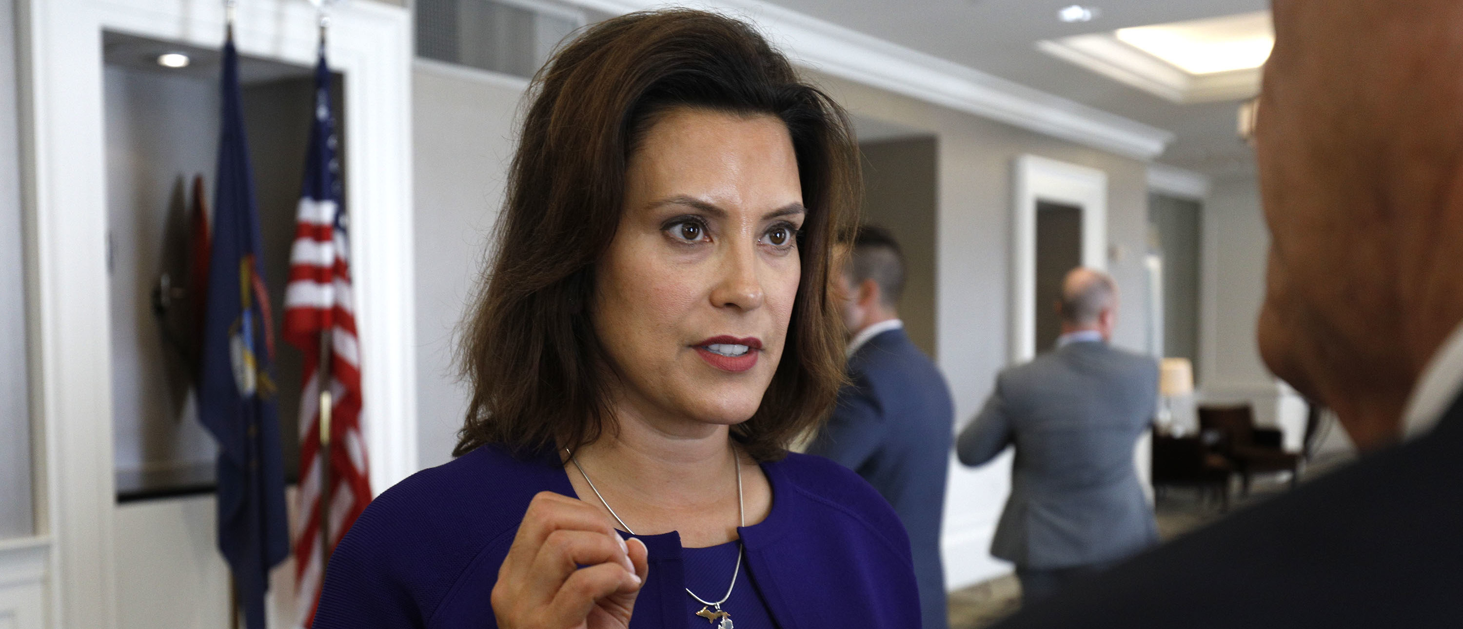 DETROIT, MI - AUGUST 8: Gretchen Whitmer, Michigan Democratic gubernatorial nominee, speaks with a reporter after a Democrat Unity Rally at the Westin Book Cadillac Hotel August 8, 2018 in Detroit, Michigan. Whitmer will face off against Republican gubernatorial nominee Bill Schuette in November. (Photo by Bill Pugliano/Getty Images)