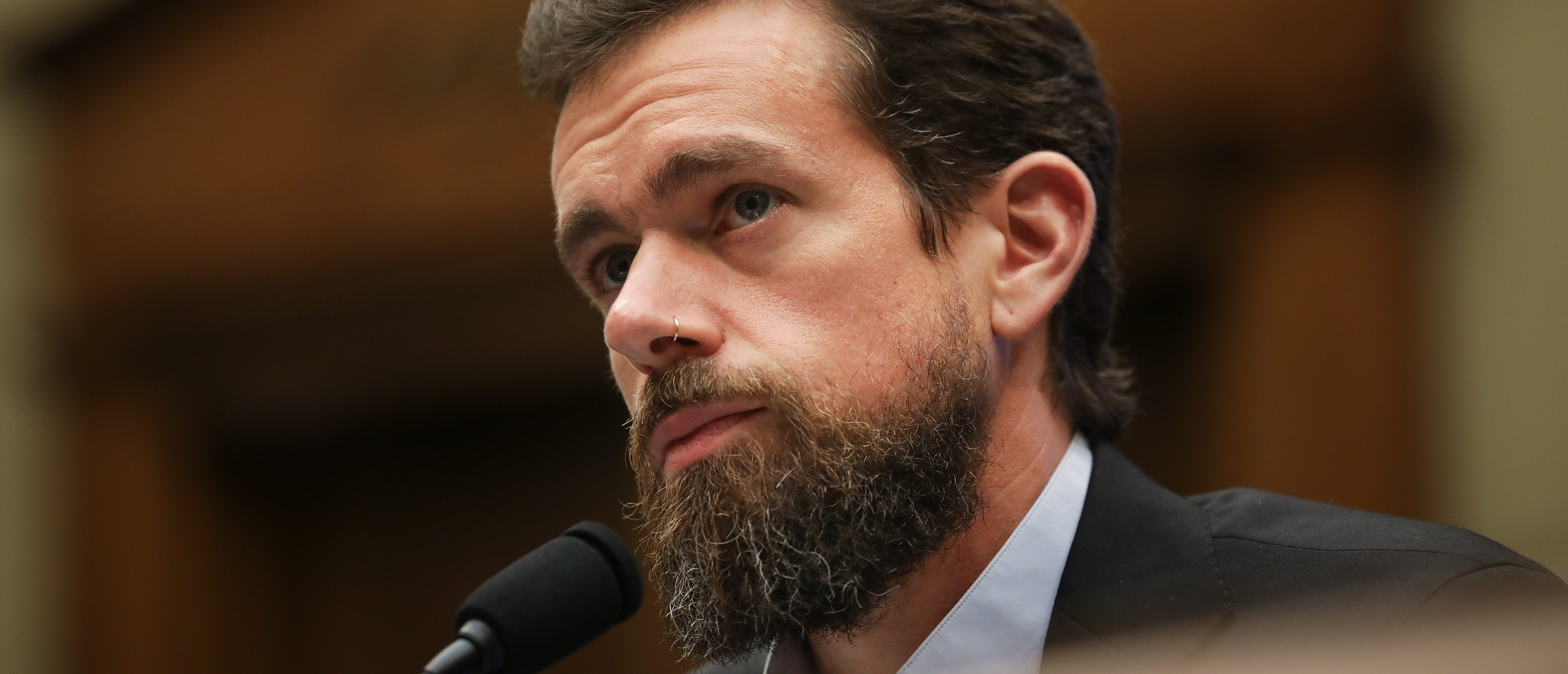 WASHINGTON, DC - SEPTEMBER 5: Twitter chief executive officer Jack Dorsey testifies during a House Committee on Energy and Commerce hearing about Twitter's transparency and accountability, on Capitol Hill, September 5, 2018 in Washington, DC. Earlier in the day, Dorsey faced questions from the Senate Intelligence Committee about how foreign operatives use their platforms in attempts to influence and manipulate public opinion. (Photo by Drew Angerer/Getty Images)