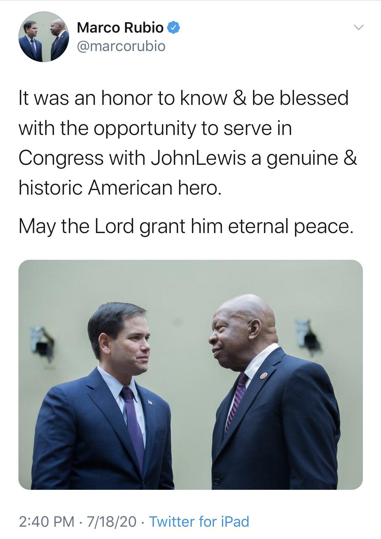 Sen. Marco Rubio mistakenly posts a picture of Elijah Cummings in a post honoring John Lewis. Screenshot/Twitter/Sahil Kapur)