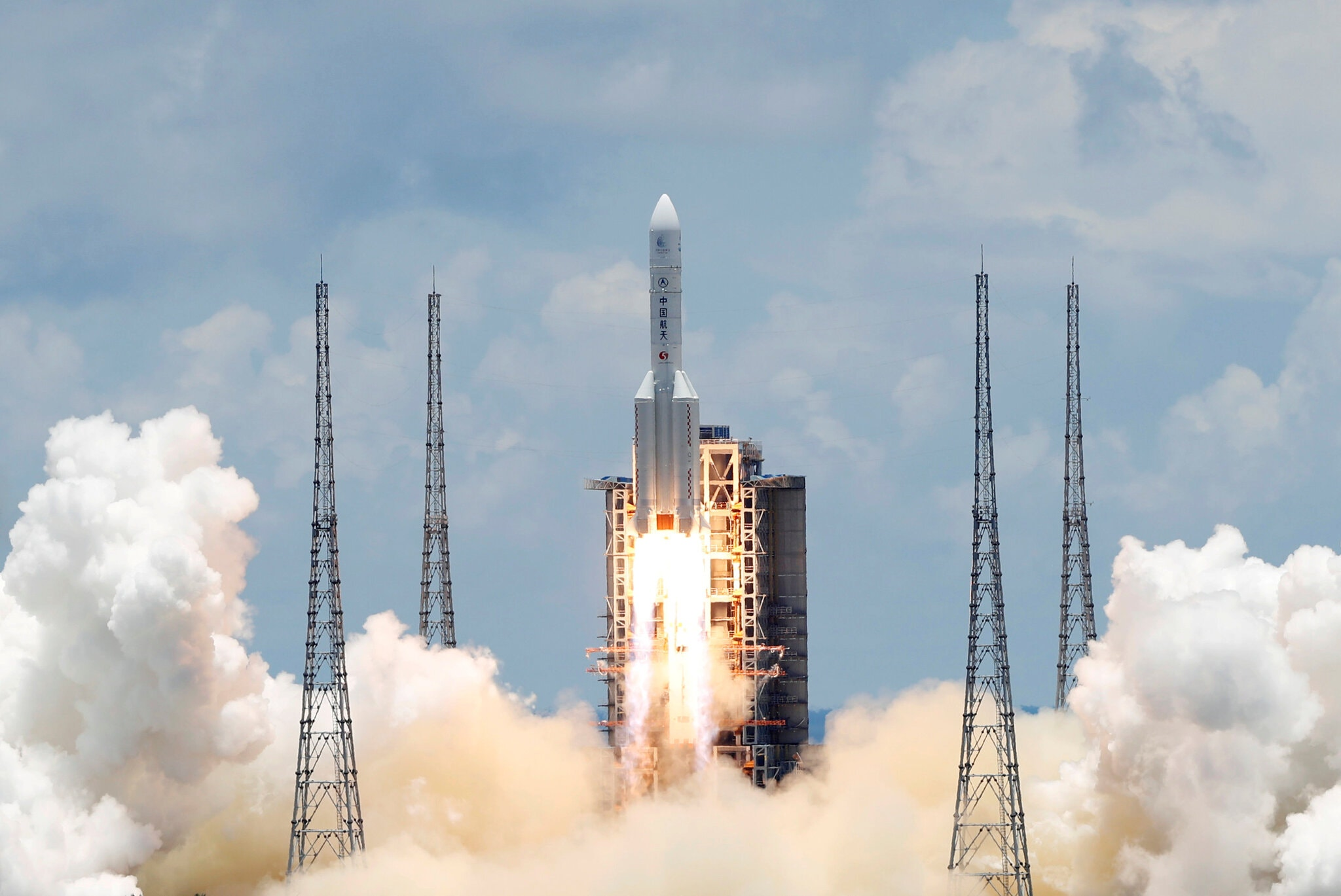 China launches its Tianwen-1 mission to Mars, July 23, 2020. The Long March 5 rocket was developed by China Academy of Launch Vehicle Technology, a subsidiary of CASC. (Carlos Garcia Rawlins/Reuters)
