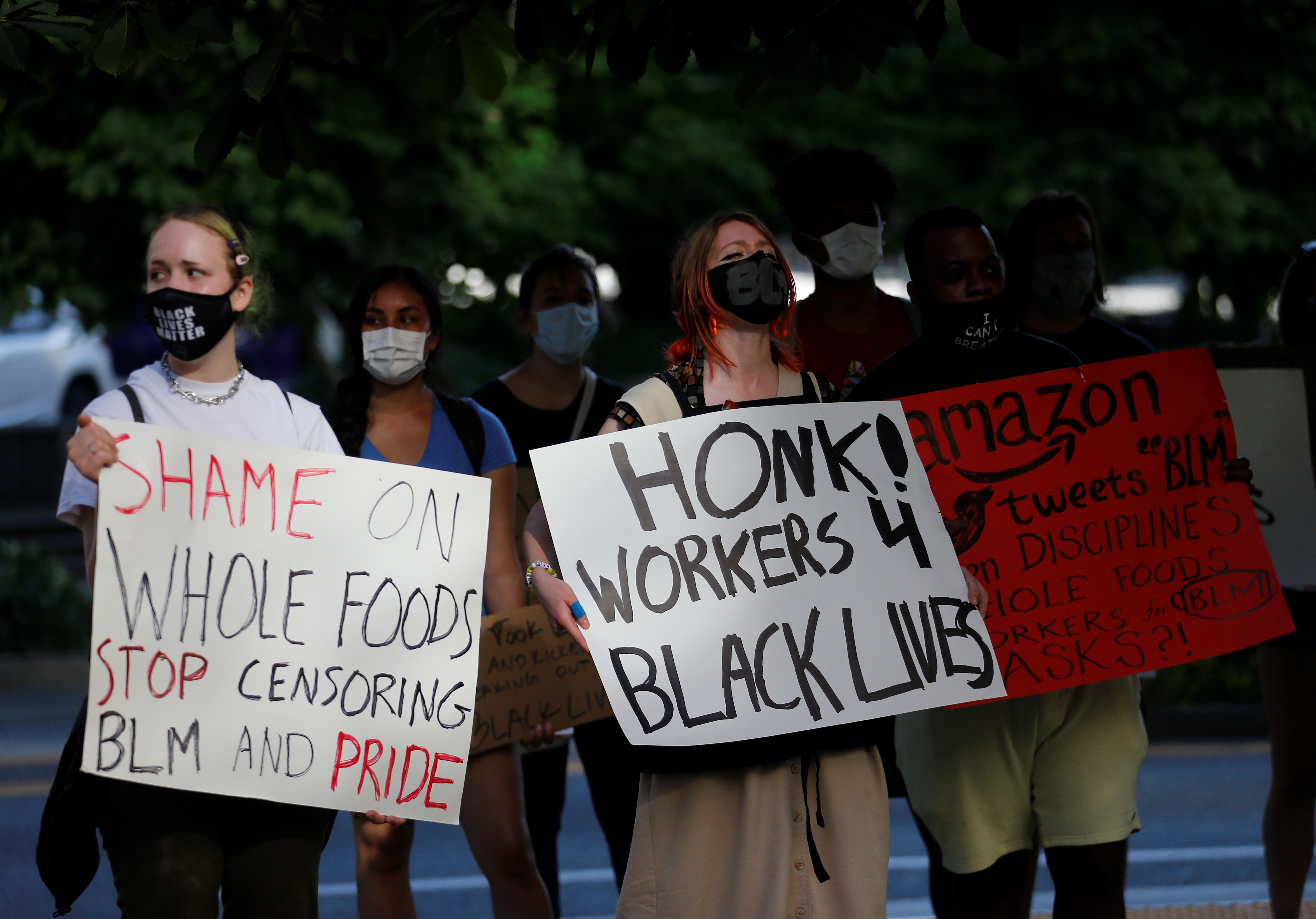 Workers of a Seattle Whole Foods protest against store management not allowing workers to wear Black Lives Matter apparel on June 25, 2020. (Lindsey Wasson/Reuters)