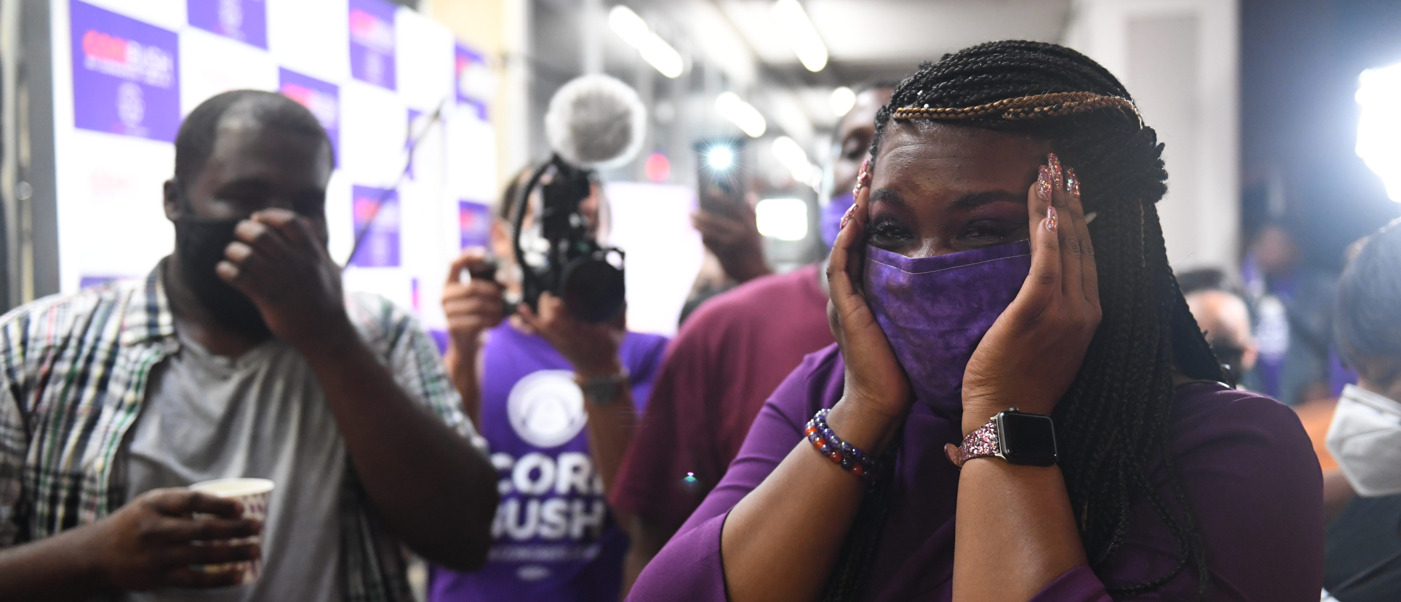 ST. LOUIS, MO - AUGUST 04: Missouri Democratic congressional candidate Cori Bush celebrates with friends and family at her campaign office on August 4, 2020 in St. Louis, Missouri. Bush, an activist backed by the progressive group Justice Democrats, defeated 10-term incumbent Rep. William Lacy Clay (D-MO) in Tuesday's primary election to become the first black woman elected to represent the state of Missouri in congress. (Photo by Michael B. Thomas/Getty Images)