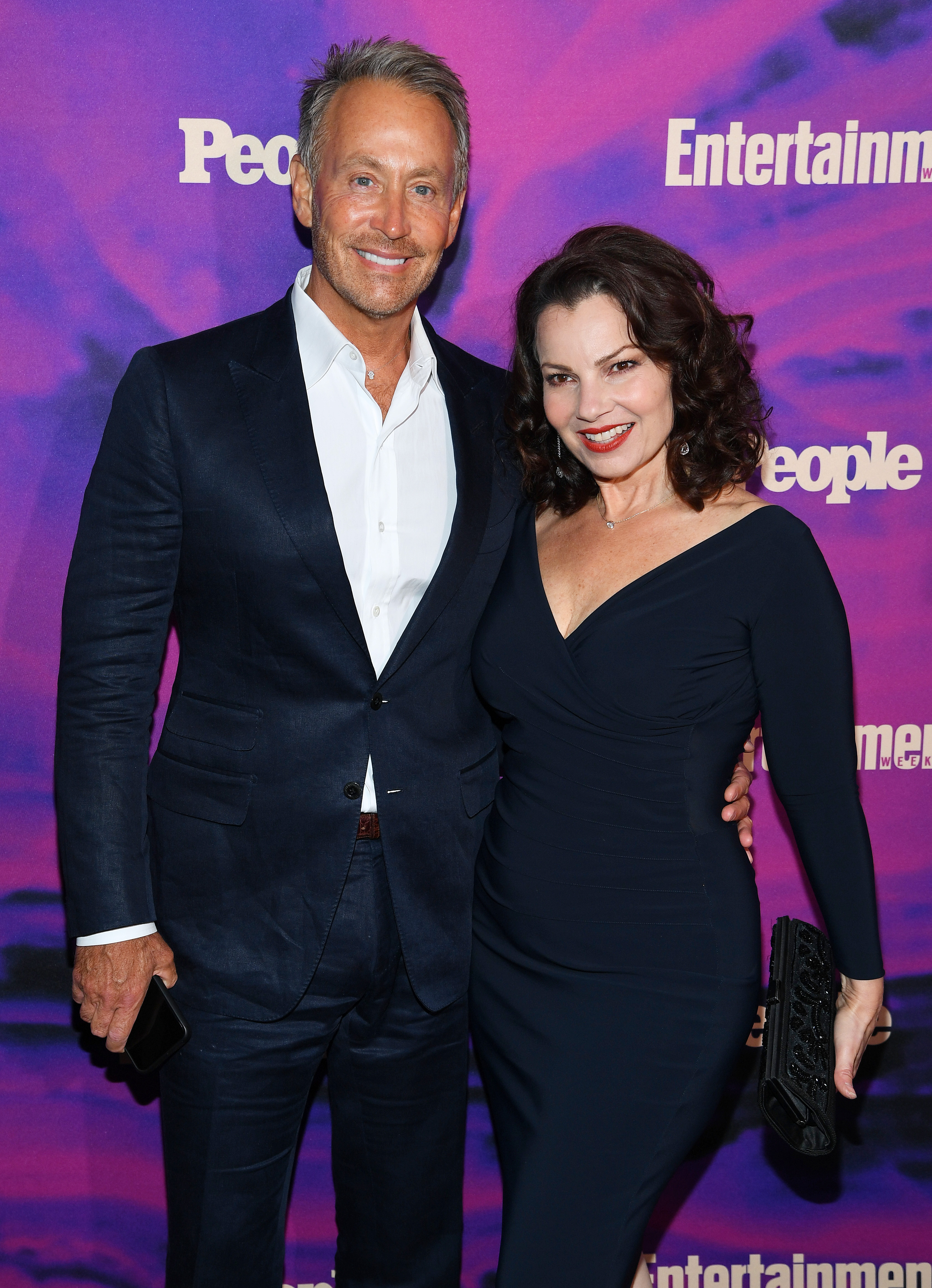 Fran Drescher (R) and Peter Marc Jacobson attend the Entertainment Weekly & PEOPLE New York Upfronts Party on May 13, 2019 in New York City. (Photo by Dimitrios Kambouris/Getty Images for Entertainment Weekly & PEOPLE)