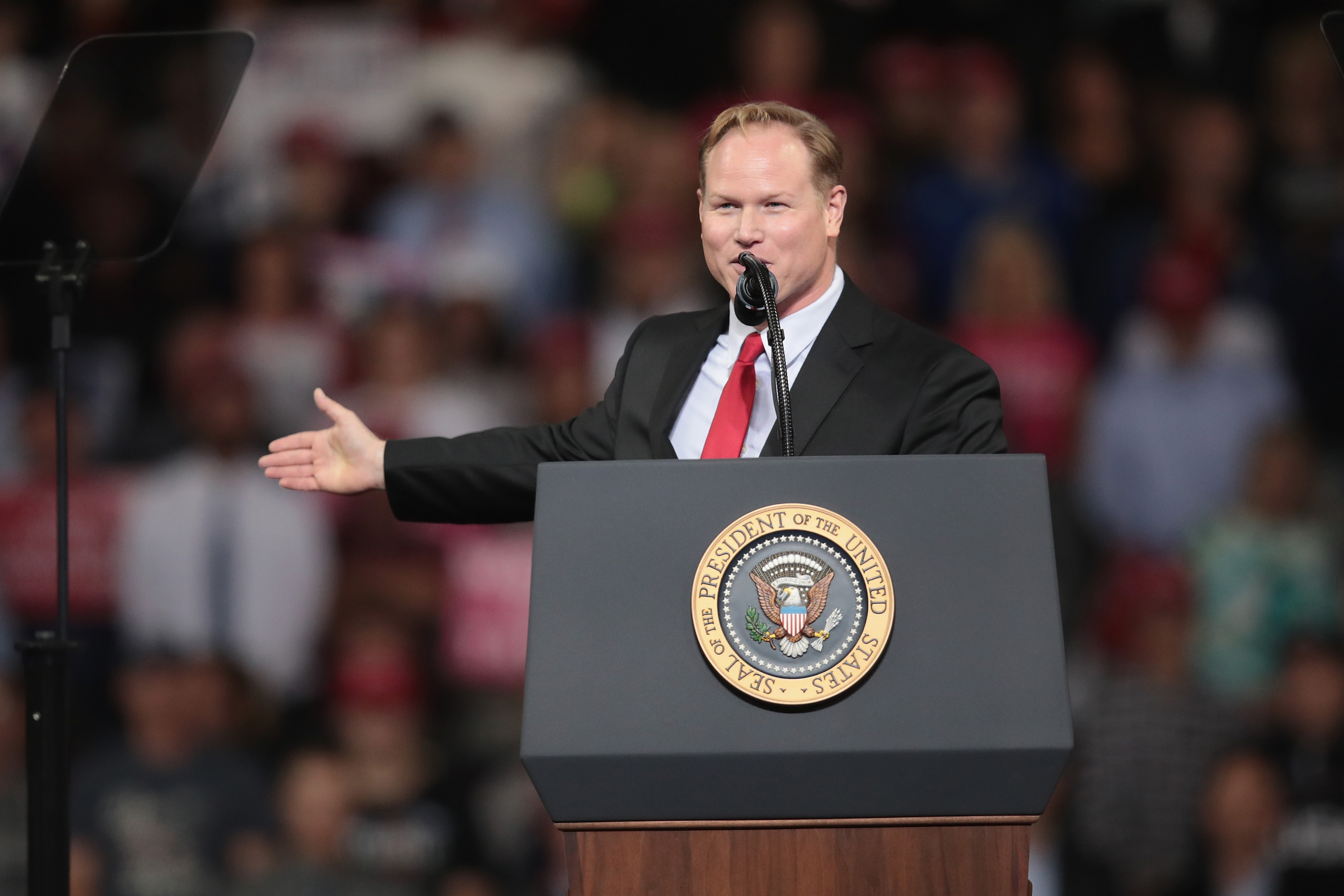 Republican candidate for the U.S. House in Kansas' 2nd district Steve Watkins speaks at a rally with President Donald Trump at the Kansas Expocenter on October 6, 2018 in Topeka, Kansas. Trump scored a political victory today when Judge Brett Kavanaugh was confirmed by the Senate to become the next Supreme Court justice. (Scott Olson/Getty Images)