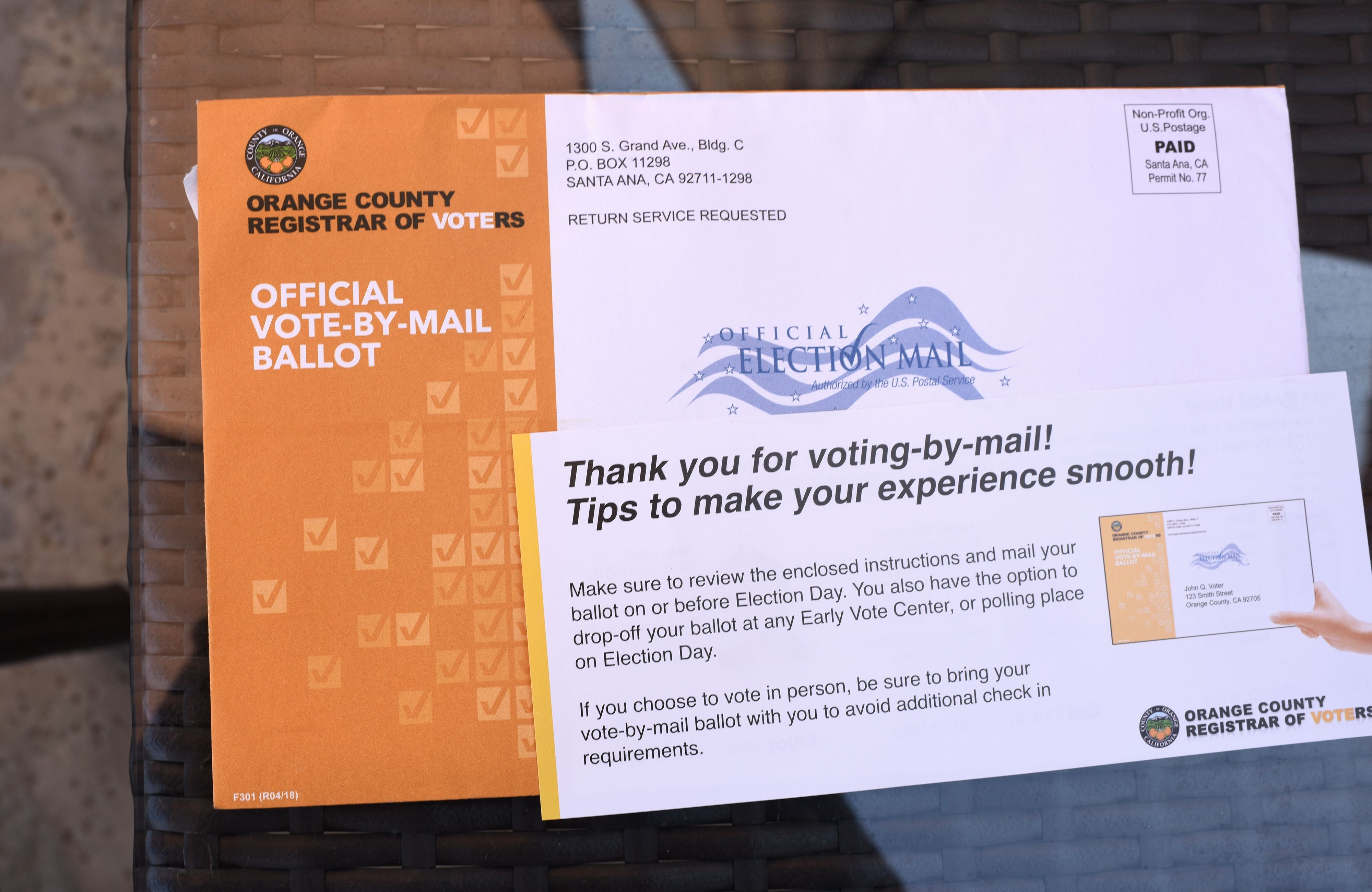 A mail-in ballot for the midterm elections is displayed in upscale Laguna Niguel in southern California's Orange County, October 14, 2018. - Amoukhteh, a registered Republican, is supporting a Democratic candidate for congress in her district. She says her turn away from the Republican Party was motivated by her distaste for what she sees as US President Donald Trump's misogyny and racism. (Photo by Robyn Beck / AFP) (Photo credit should read ROBYN BECK/AFP via Getty Images)