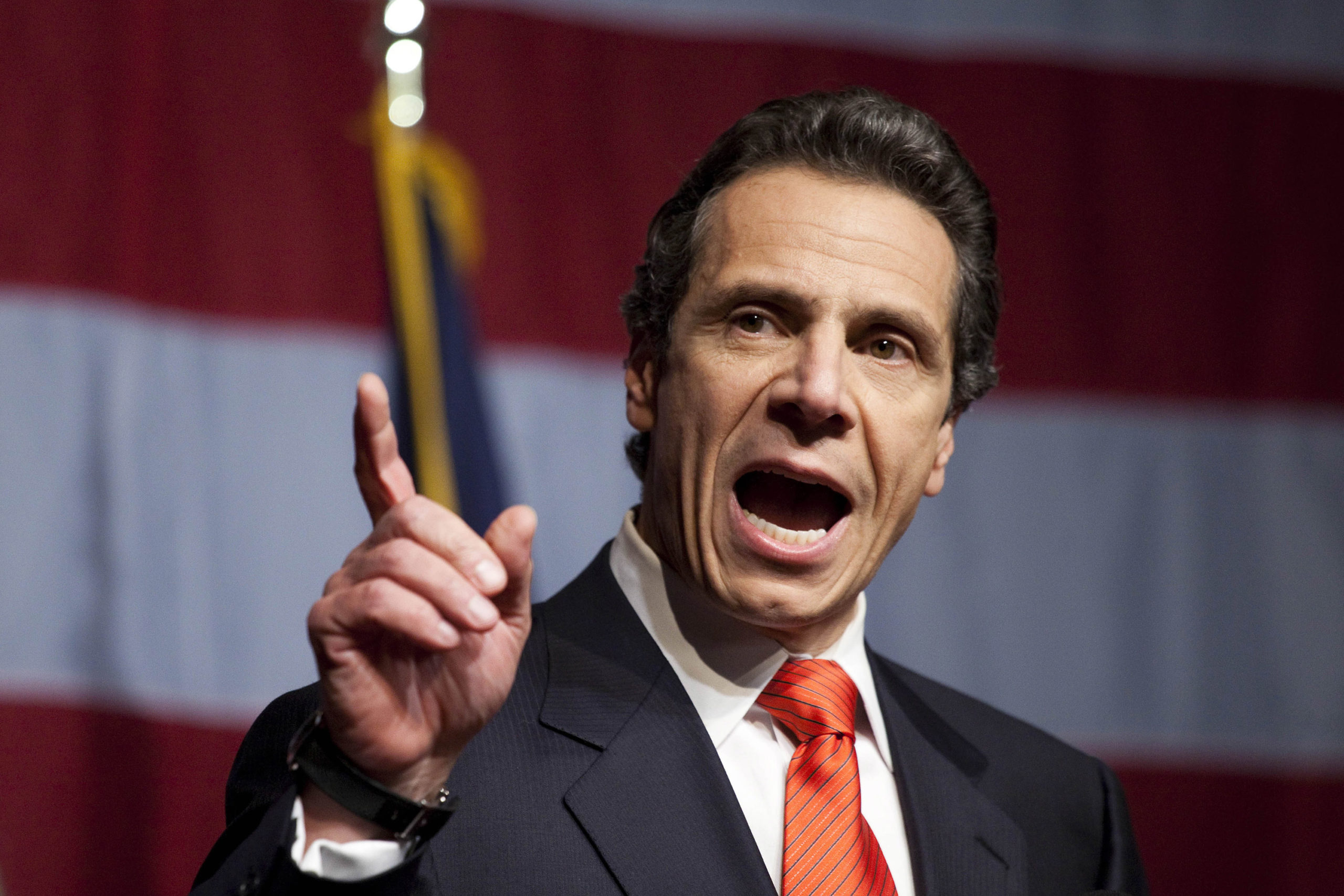 New York Governor-elect Andrew Cuomo speaks to supporters at the Sheraton New York on election night, November 2, 2010 in New York City. Cuomo resoundingly defeated his Tea Party-backed opponent, Republican candidate Carl Paladino. (Michael Nagle/Getty Images)