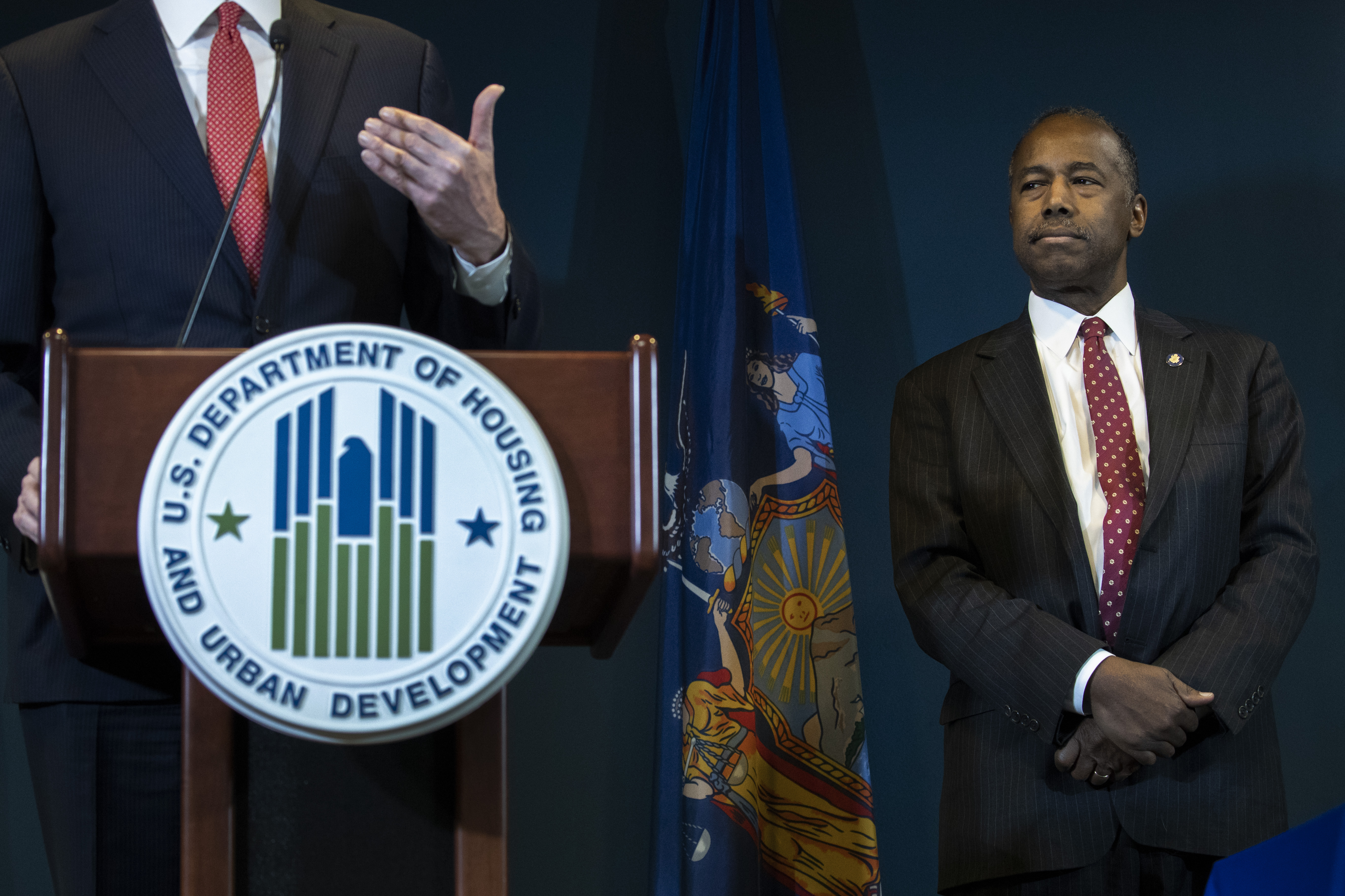 Ben Carson, Secretary of Housing and Urban Development, signs an agreement with New York City to correct mismanagement of the city's housing department. (Drew Angerer/Getty Images)