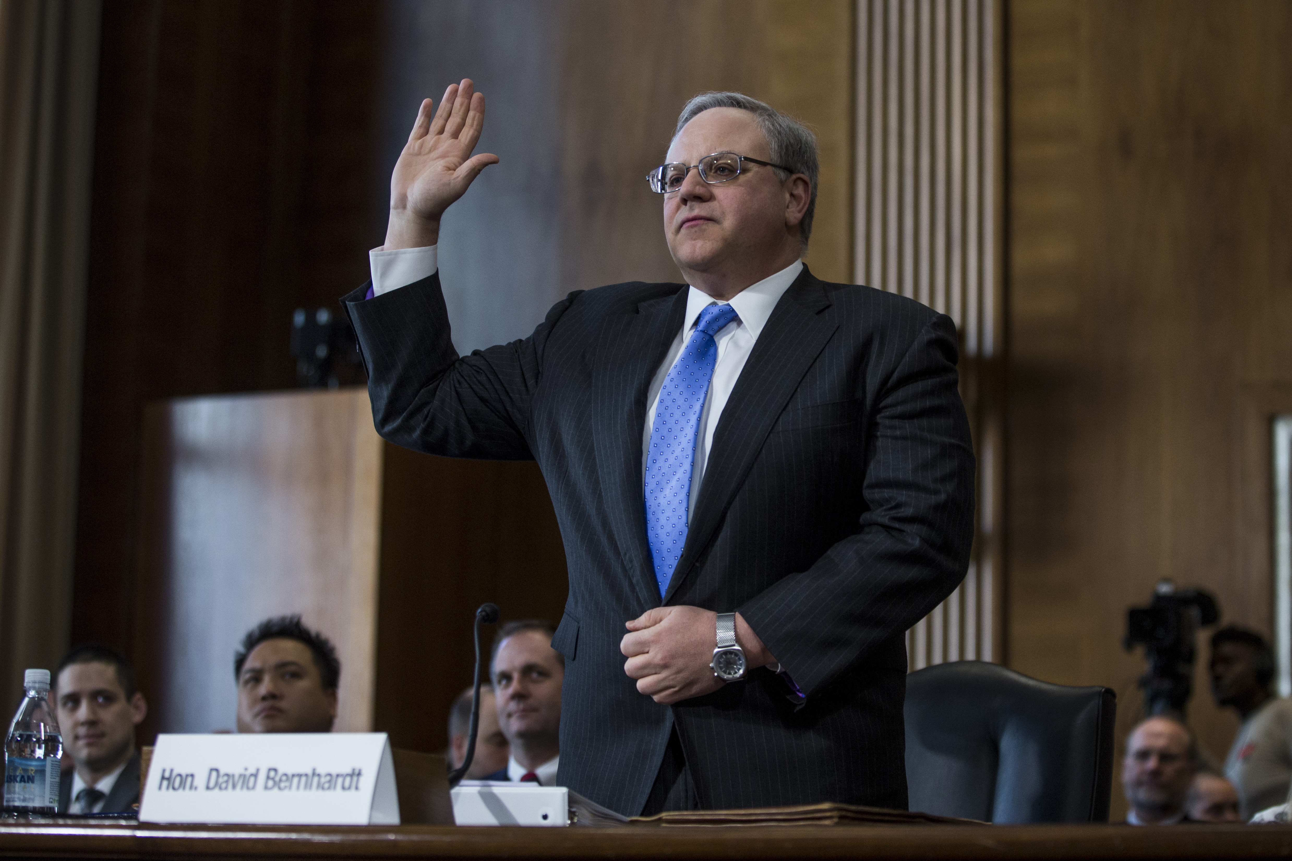 WASHINGTON, DC - MARCH 28: David Bernhardt, President Donald Trump's nominee to be Interior Secretary, is sworn in during a Senate Energy and Natural Resources Committee confirmation hearing on March 28, 2019 in Washington, DC. (Photo by Zach Gibson/Getty Images)