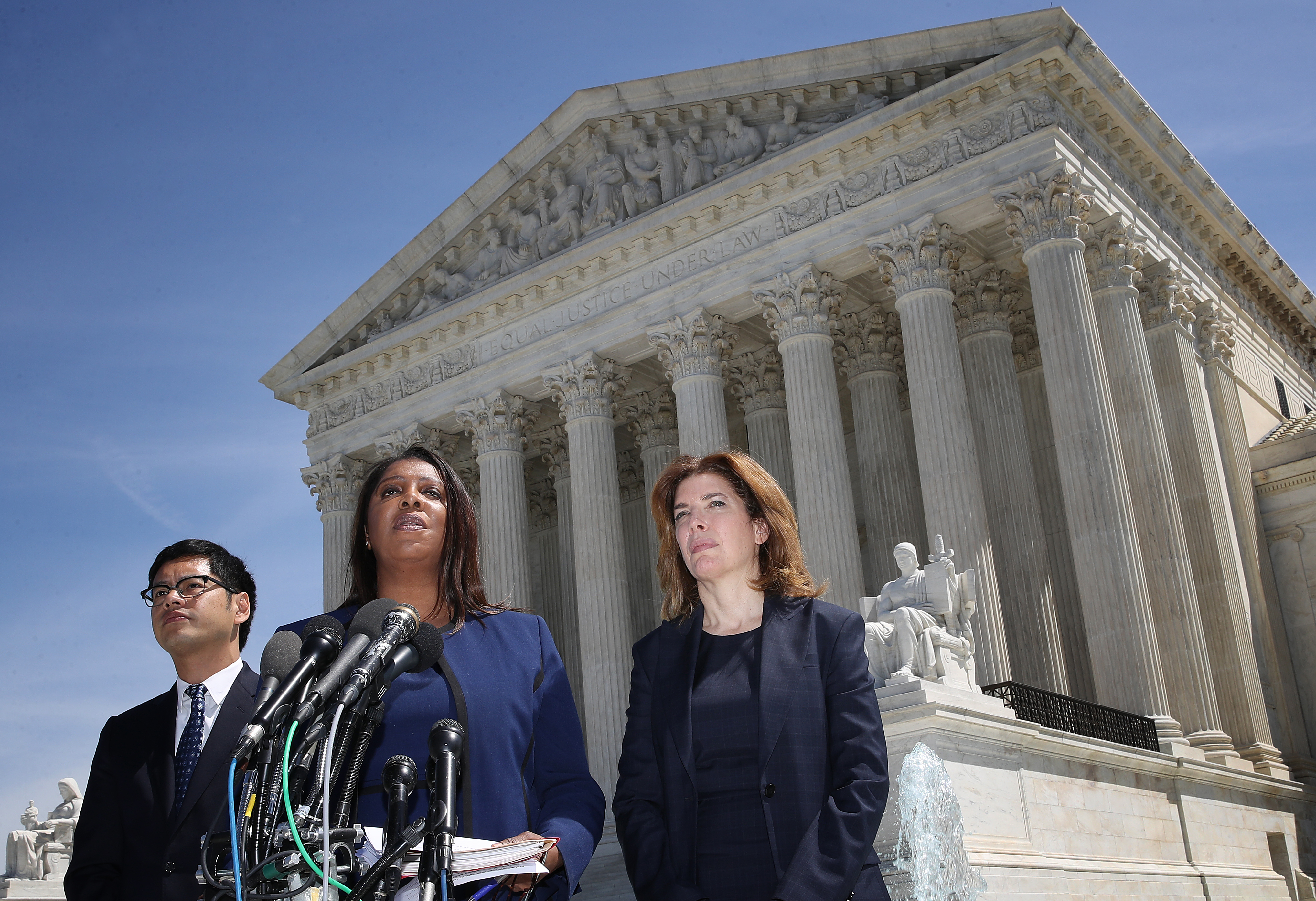 WASHINGTON, DC - APRIL 23: New York Attorney General Letitia James (C), New York Census Director Julie Menin (R) and ACLU's Director of the Voting Project Dale Ho (L) answer questions outside the U.S. Supreme Court after the court heard oral arguments in the Commerce vs. New York case April 23, 2019 in Washington, DC. The case highlights a question about U.S. citizenship included by the Trump administration in the proposed 2020 U.S. census. (Photo by Win McNamee/Getty Images)