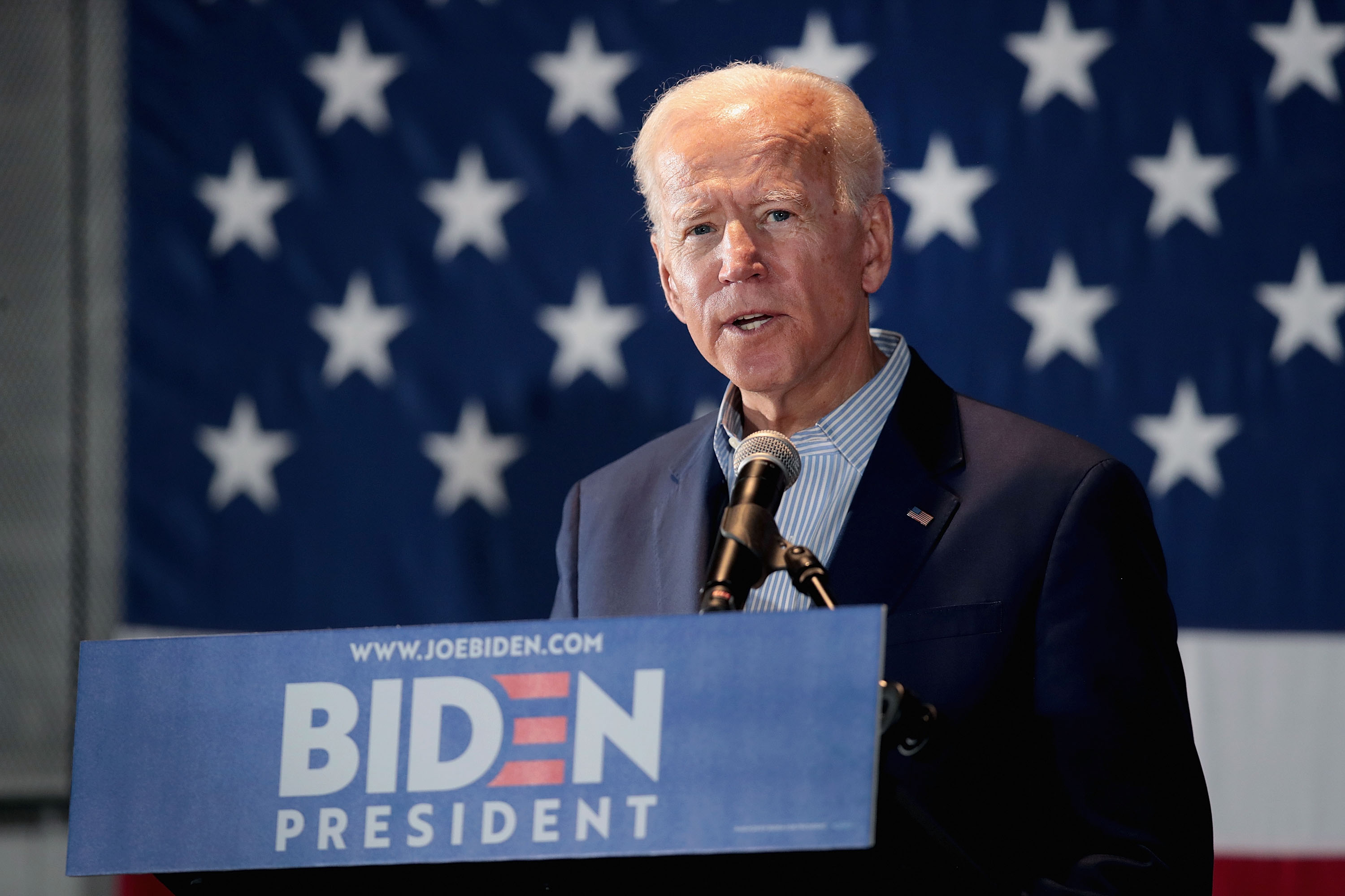 CEDAR RAPIDS, IOWA - APRIL 30: Democratic presidential candidate and former vice president Joe Biden holds a campaign event at the Veterans Memorial Building on April 30, 2019 in Cedar Rapids, Iowa. Biden is on his first visit to the state since announcing that he was officially seeking the Democratic nomination for president. (Photo by Scott Olson/Getty Images)