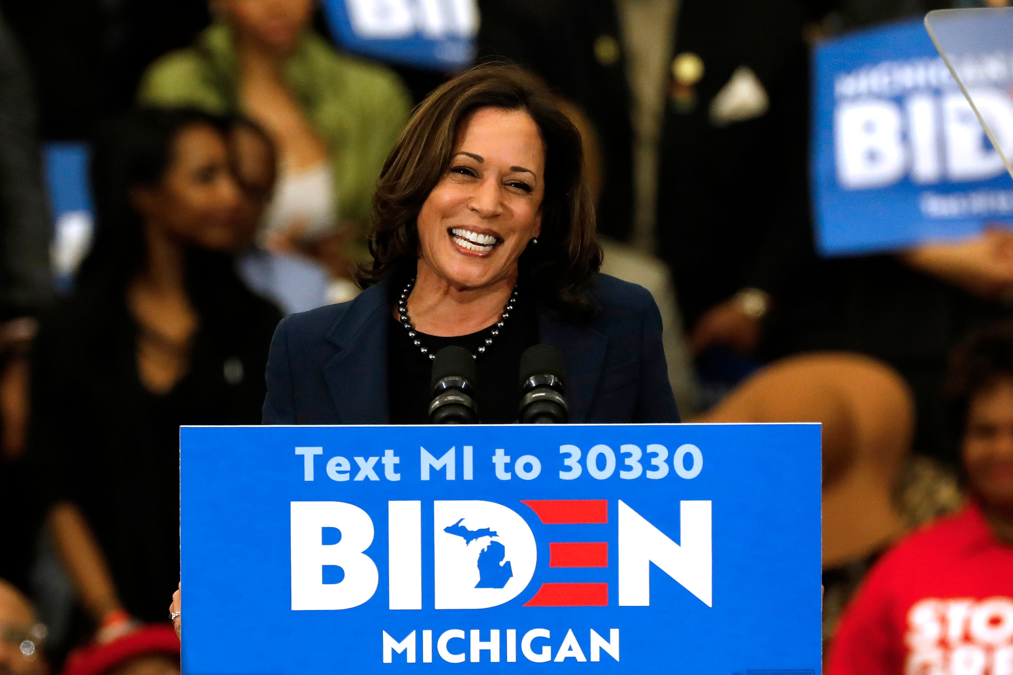 California Senator Kamala Harris endorses Democratic presidential candidate former Vice President Joe Biden as she speaks to supporters during a campaign rally at Renaissance High School in Detroit, Michigan on March 9, 2020. (Photo by JEFF KOWALSKY/AFP via Getty Images)