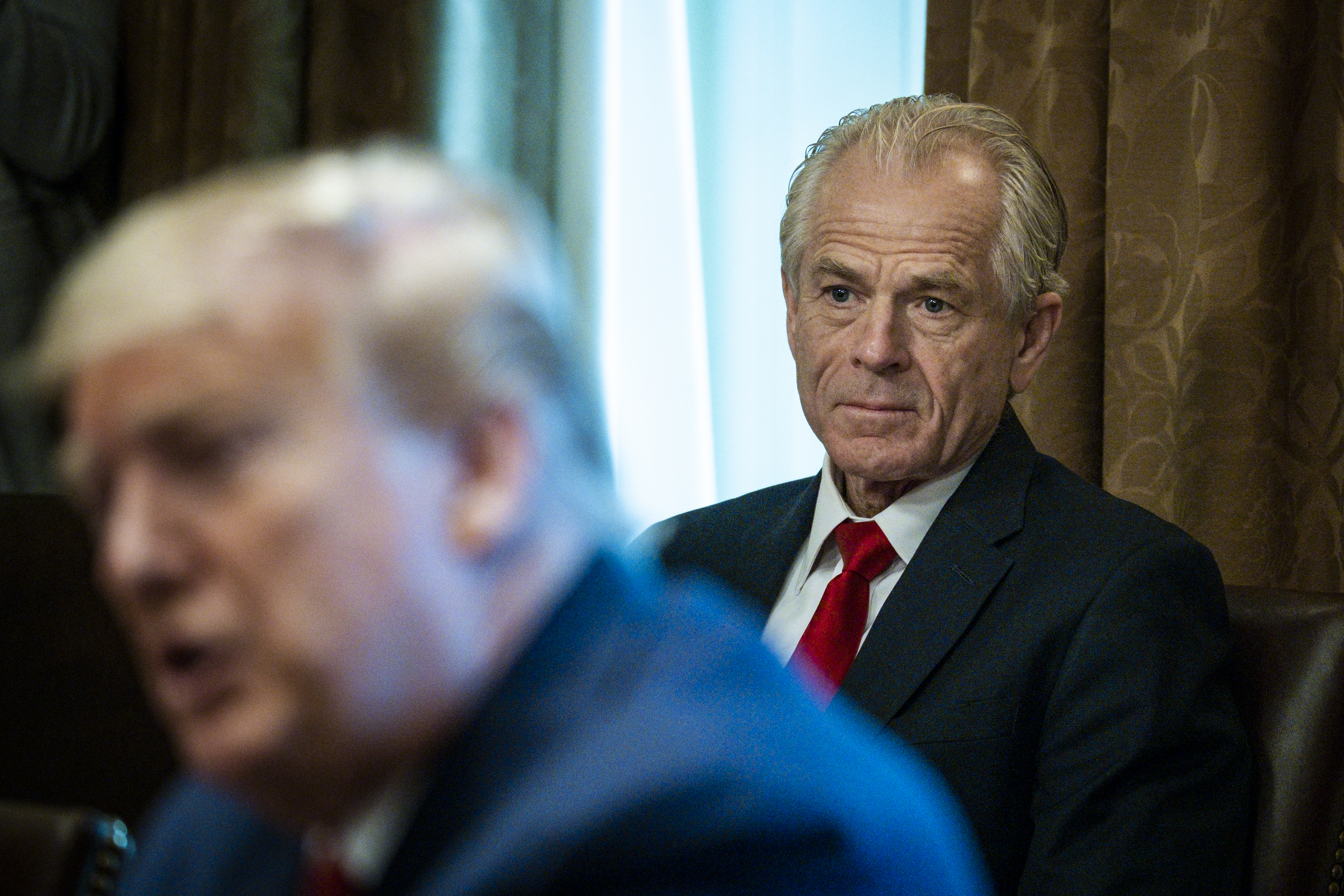 WASHINGTON, DC - MARCH 29: Director of the National Trade Council Peter Navarro looks on as President Donald Trump meets with supply chain distributors in reference to the COVID-19 coronavirus pandemic, in the Cabinet Room in the West Wing at the White House on Sunday, March 29, 2020. (Photo by Pete Marovich-Pool/Getty Images)