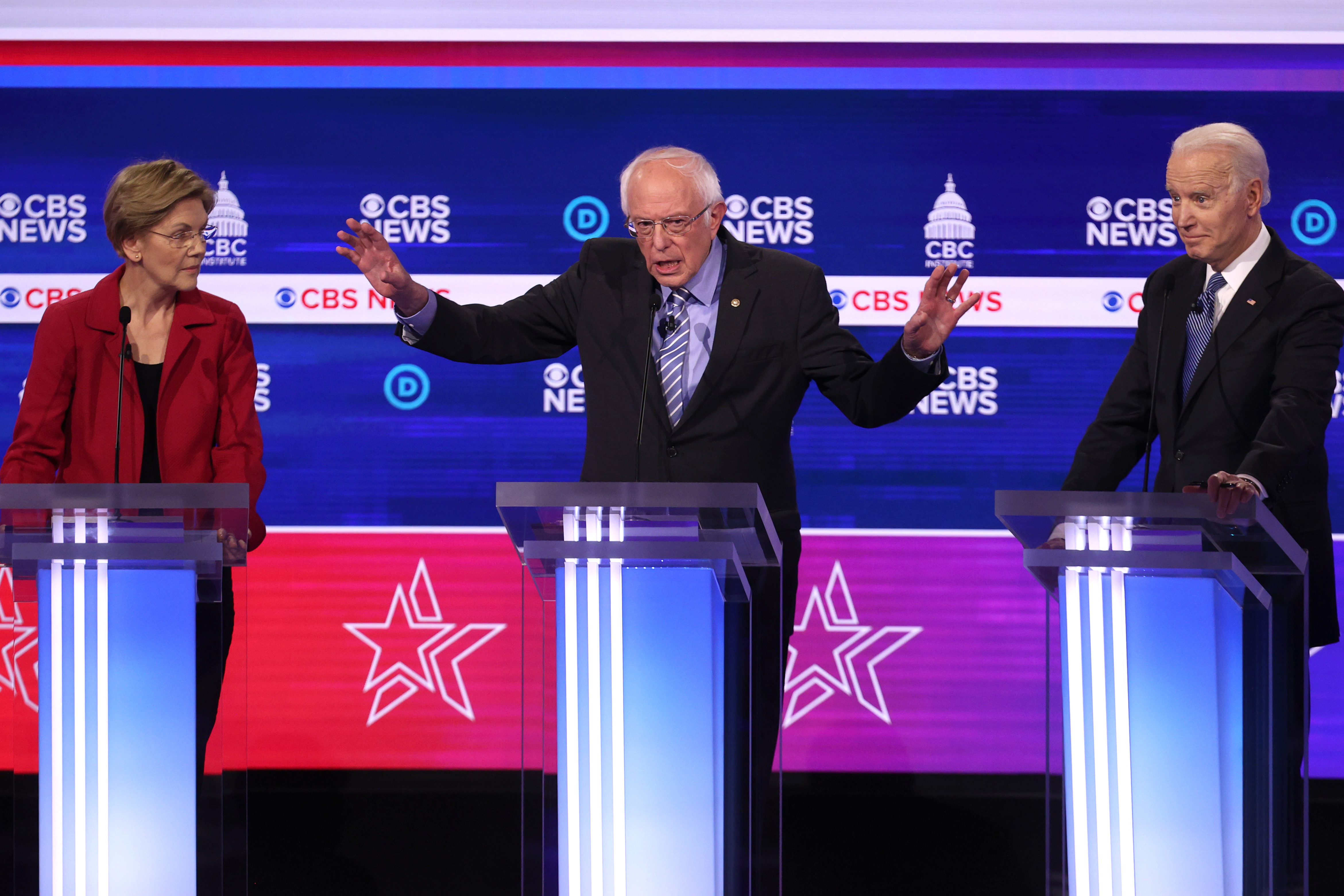 CHARLESTON, SOUTH CAROLINA - FEBRUARY 25: Democratic presidential candidate Sen. Bernie Sanders (I-VT) speaks as Sen. Elizabeth Warren (D-MA) (L) and former Vice President Joe Biden (R) look on during the Democratic presidential primary debate at the Charleston Gaillard Center on February 25, 2020 in Charleston, South Carolina. Seven candidates qualified for the debate, hosted by CBS News and Congressional Black Caucus Institute, ahead of South Carolina's primary in four days. (Photo by Win McNamee/Getty Images)