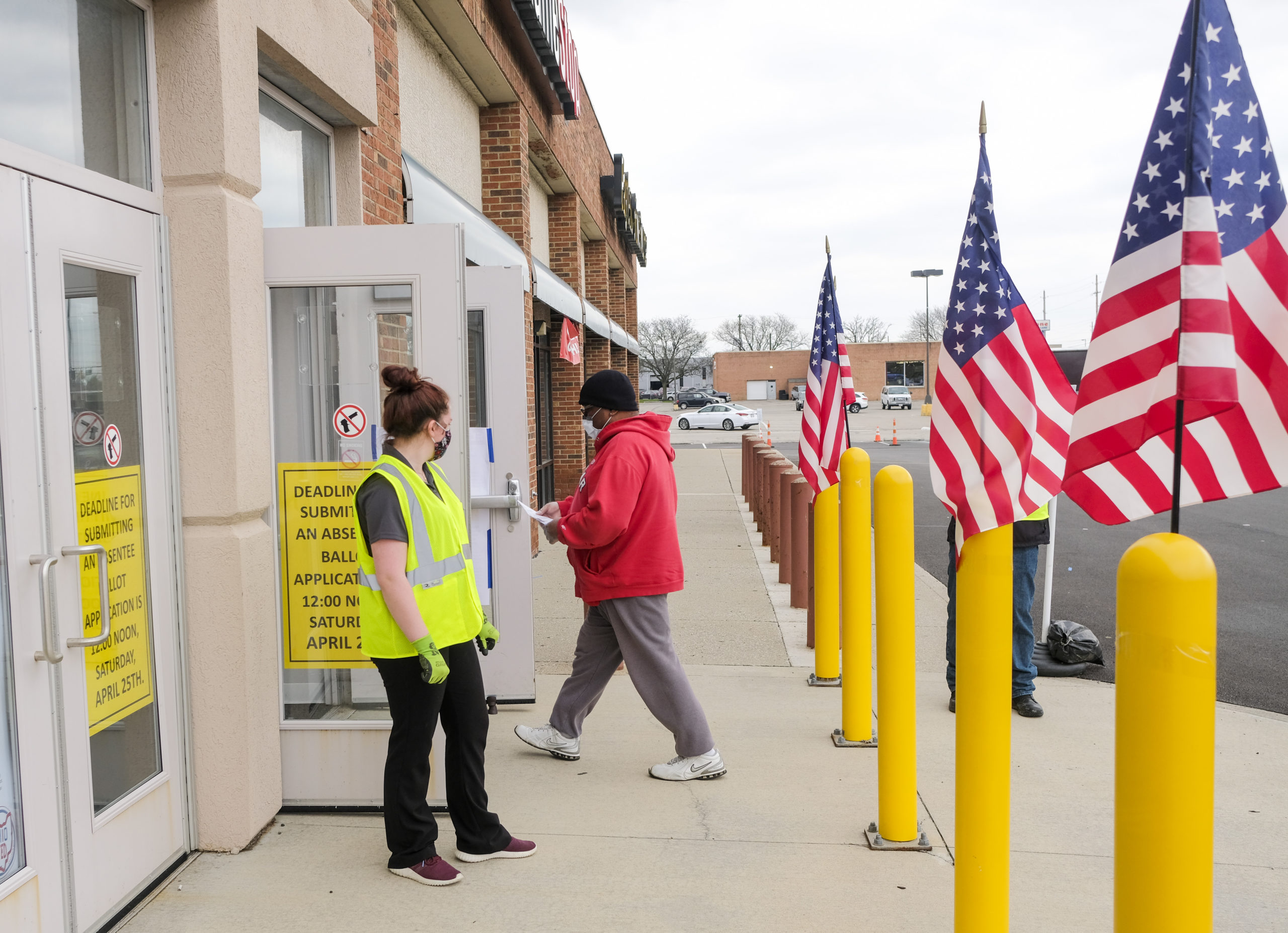 COLUMBUS, OH - APRIL 28: Ohio residents who qualify cast their votes in person at the Franklin County Board of Elections headquarters on the final day of the the Primary Election on April 28, 2020 in Columbus, Ohio. The election which was postponed on March 17, is almost exclusively mail in or absentee. The only residents allowed to vote in person are those who are disabled, have no permanent residence, or who requested a ballot by mail but never received it. (Photo by Matthew Hatcher/Getty Images)